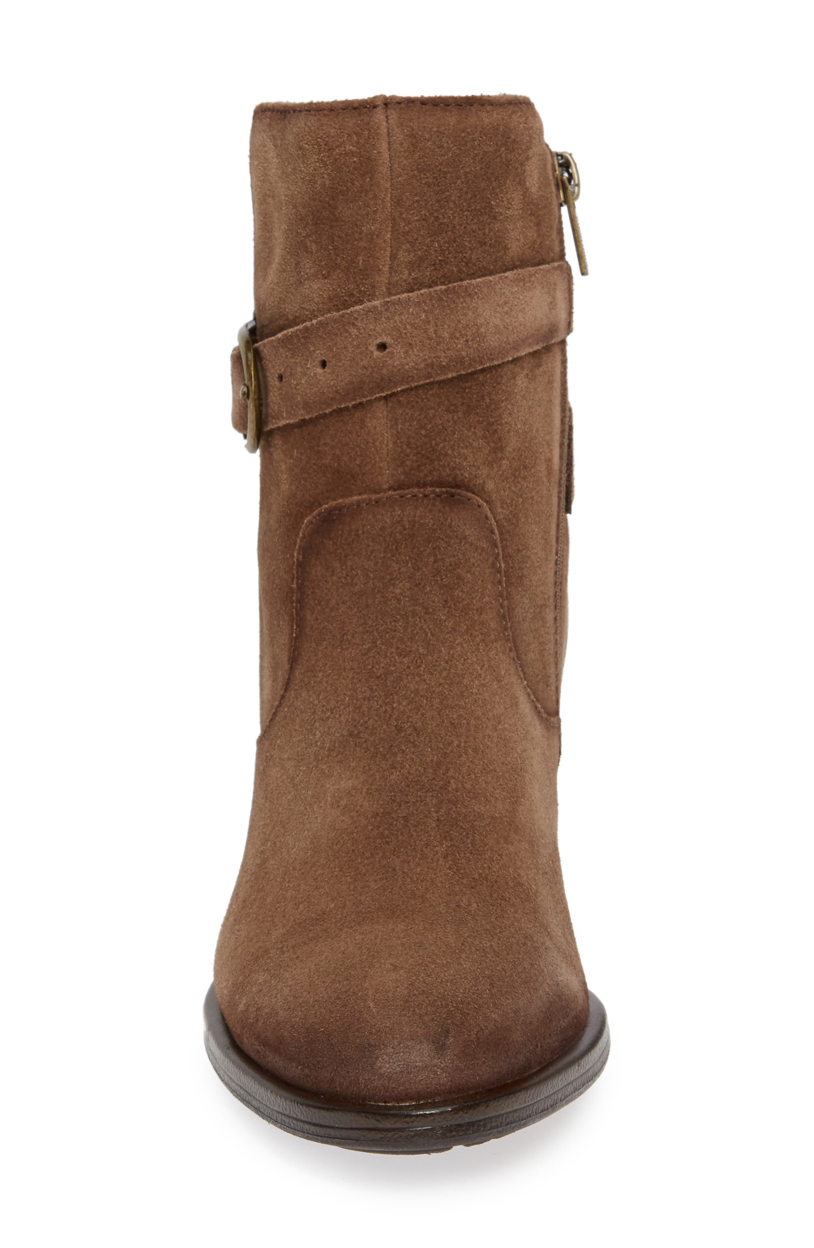Baqueira Belted Bootie,                             Alternate thumbnail 4, color,                             STONE SUEDE