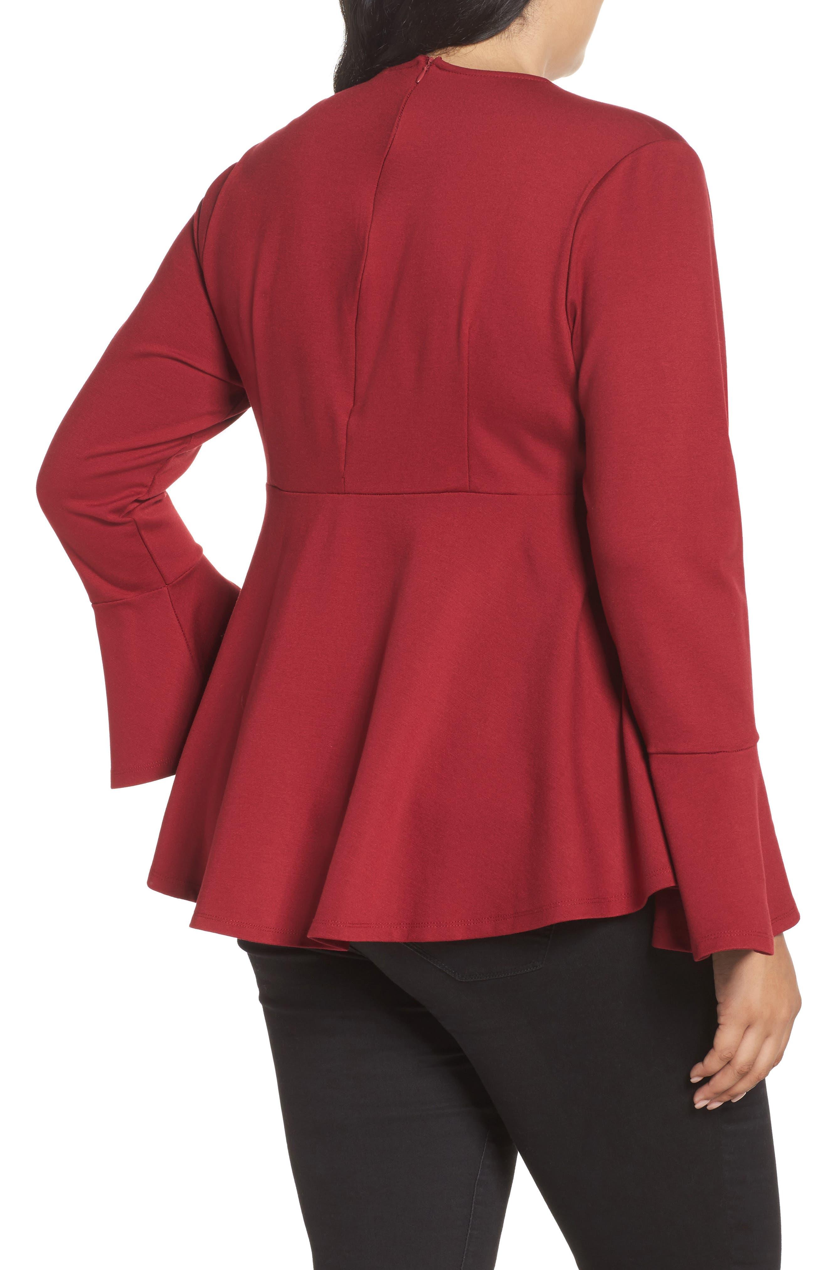 Bell Sleeve Peplum Shirt,                             Alternate thumbnail 4, color,