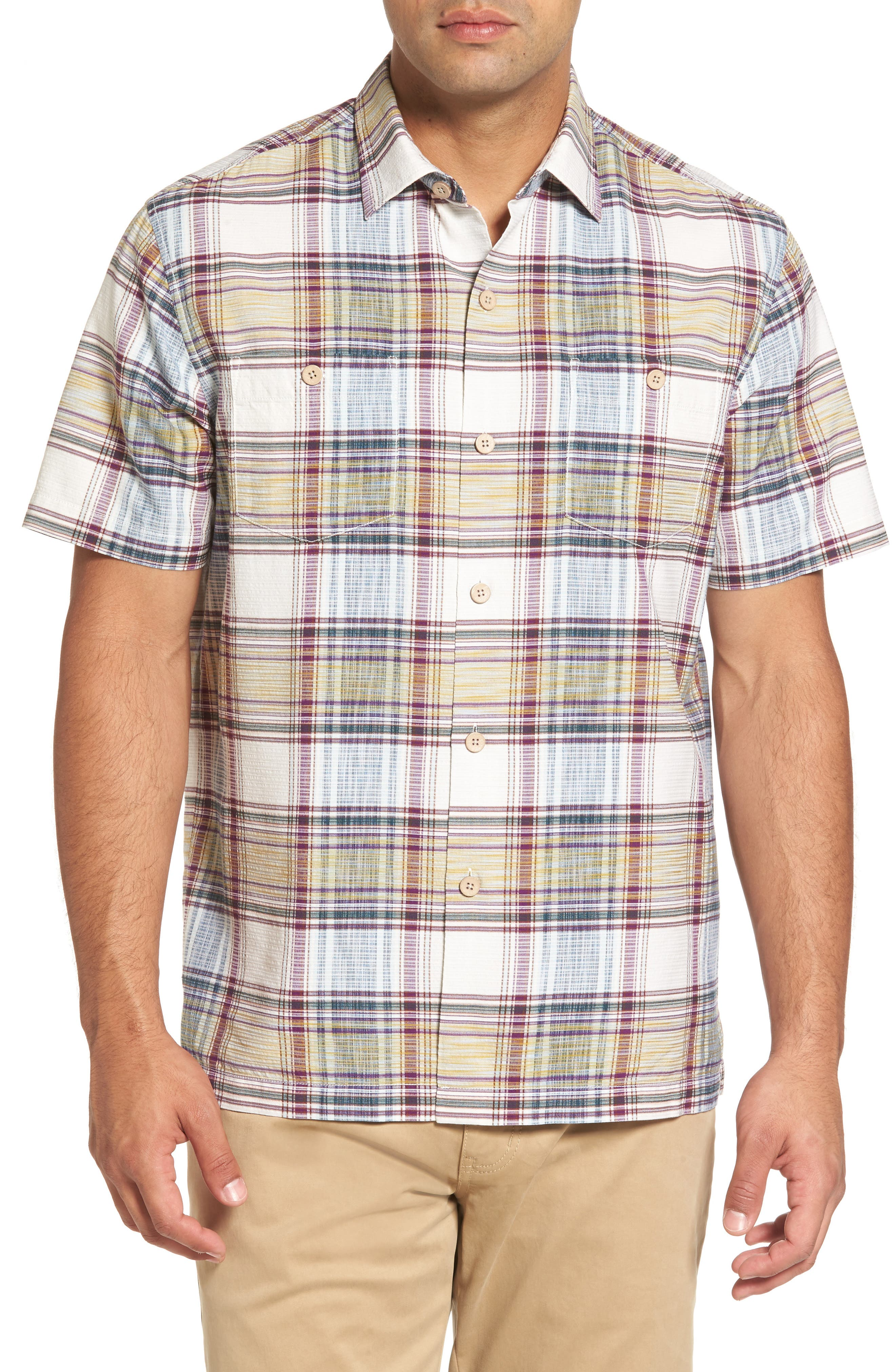 Lazlo Plaid Standard Fit Silk & Cotton Camp Shirt,                             Main thumbnail 1, color,                             100
