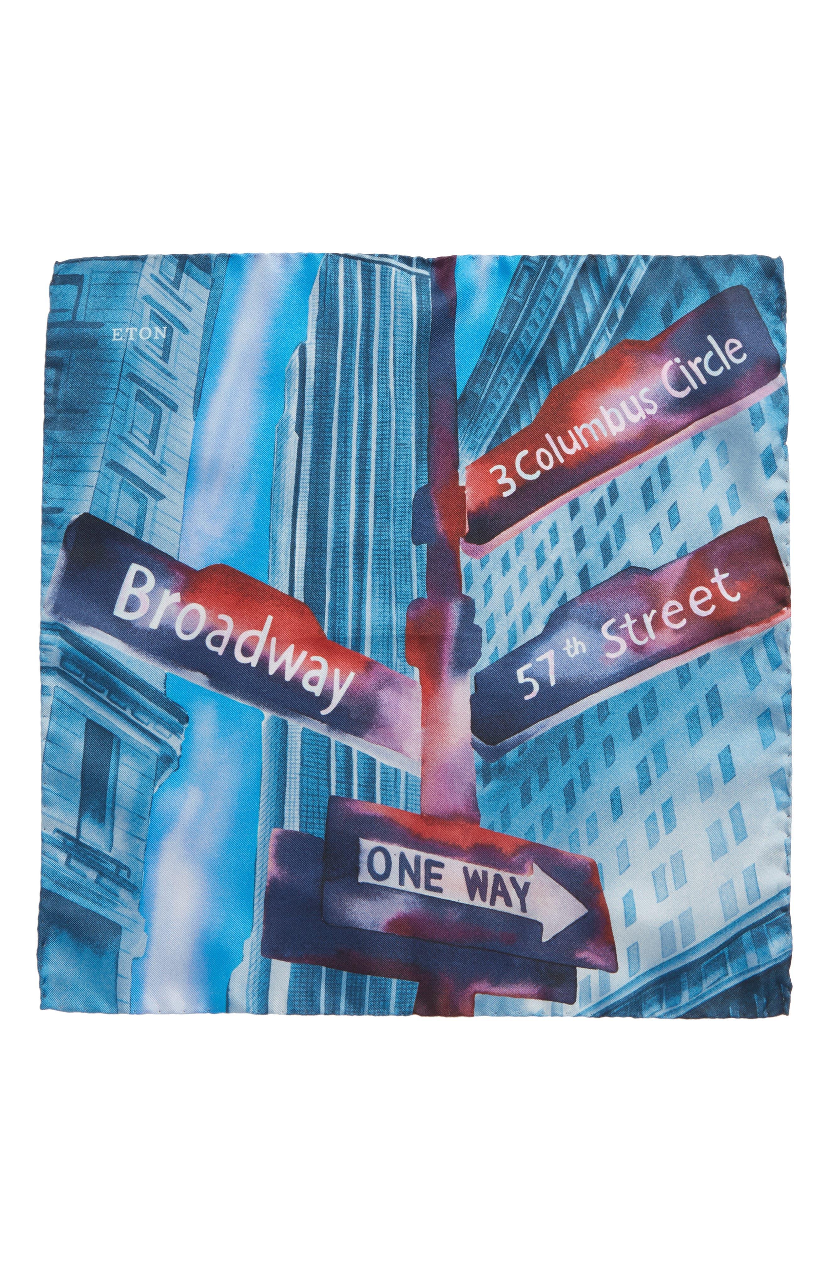 ETON,                             New York Store Silk Pocket Square,                             Alternate thumbnail 2, color,                             BLUE