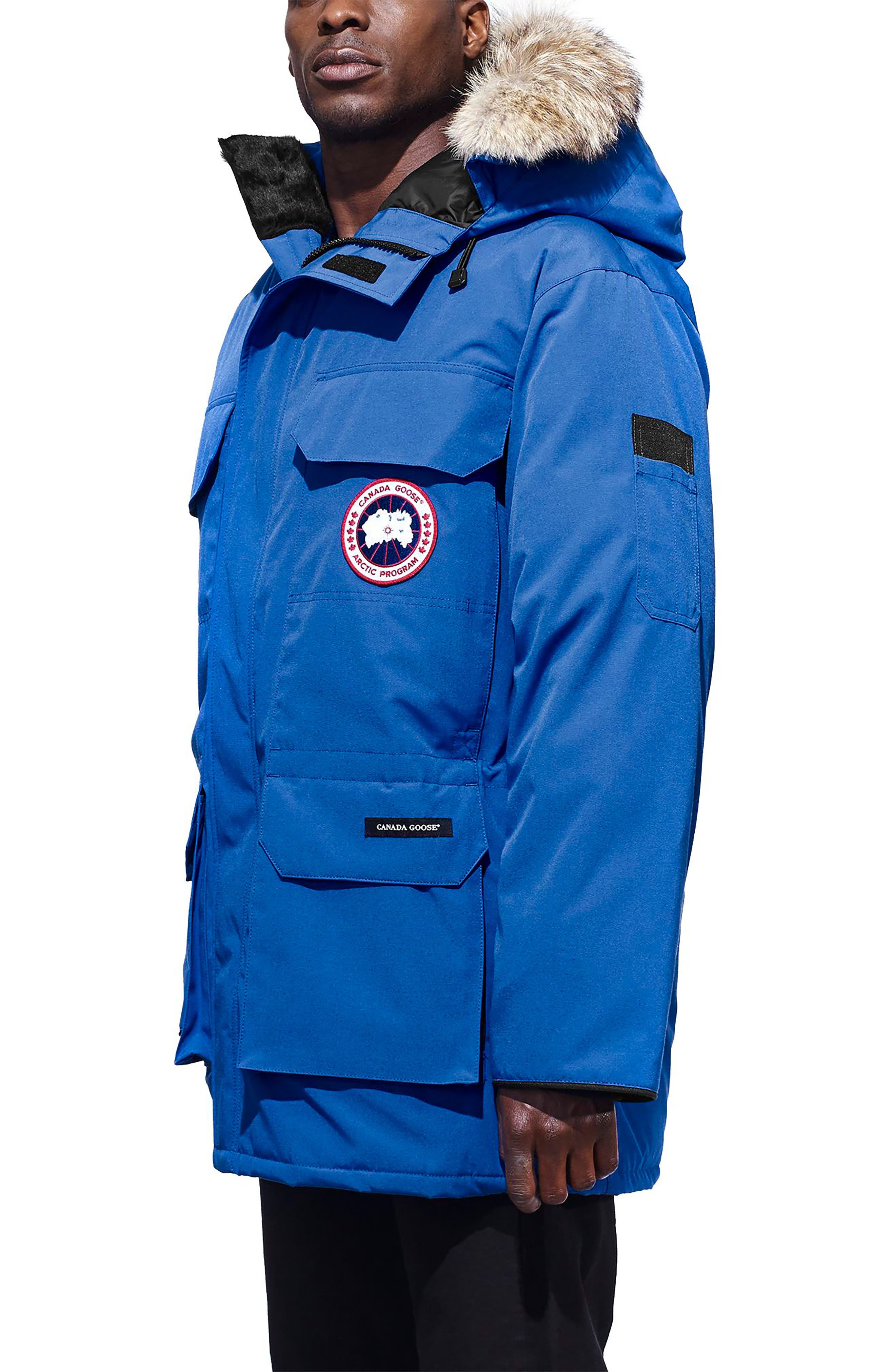 PBI Expedition Down Parka with Genuine Coyote Fur Trim,                             Alternate thumbnail 3, color,                             ROYAL PBI BLUE