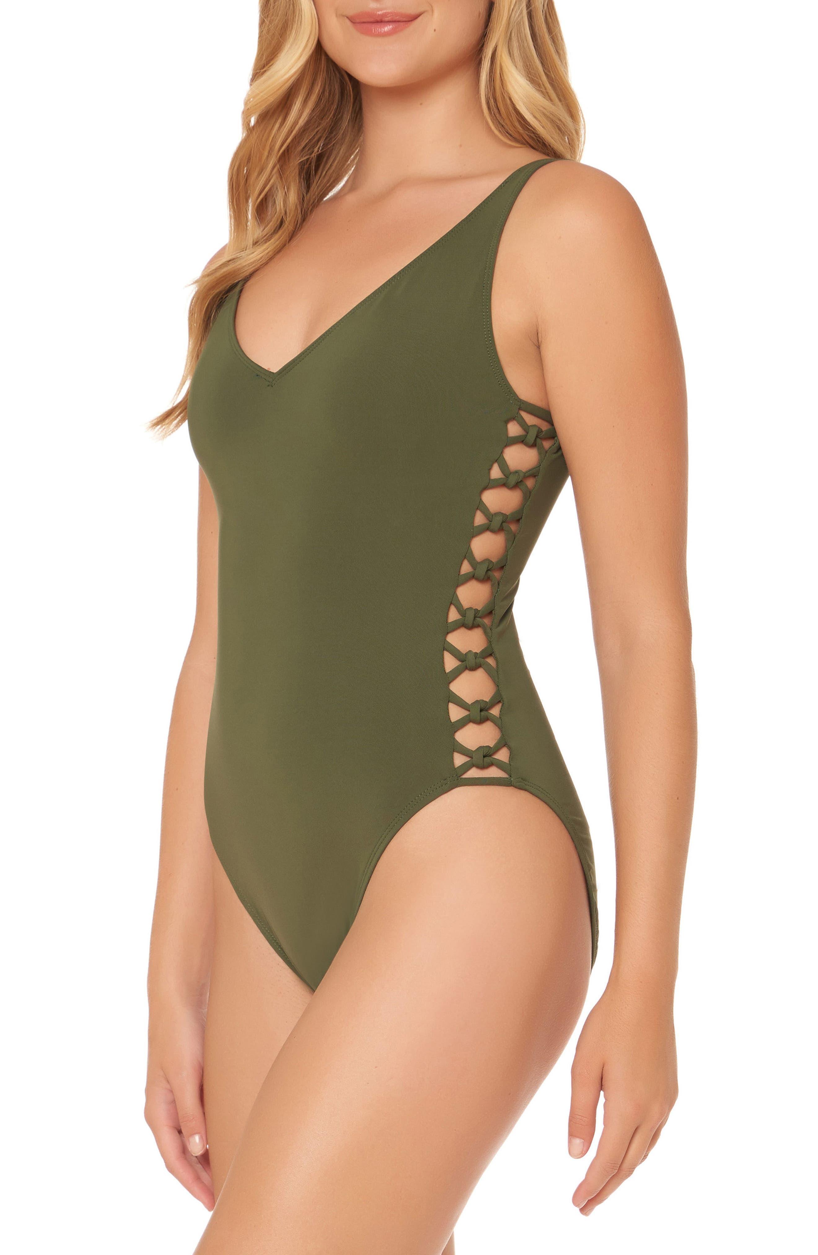 BLEU by Rod Beattie Lattice One-Piece Swimsuit,                             Alternate thumbnail 6, color,