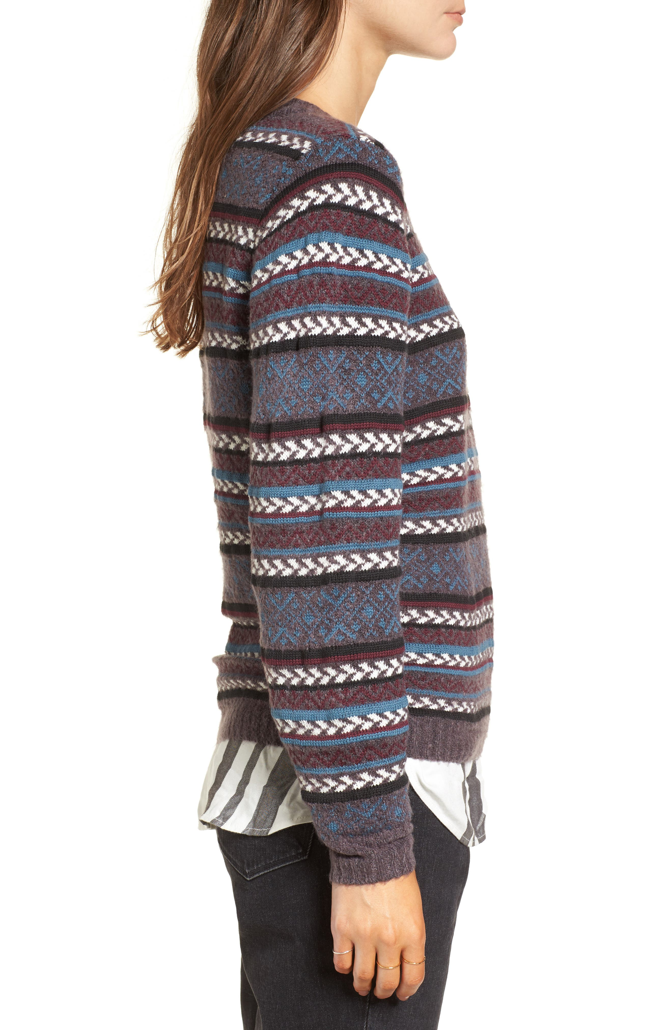 Fair Isle Stripe Sweater,                             Alternate thumbnail 3, color,                             930