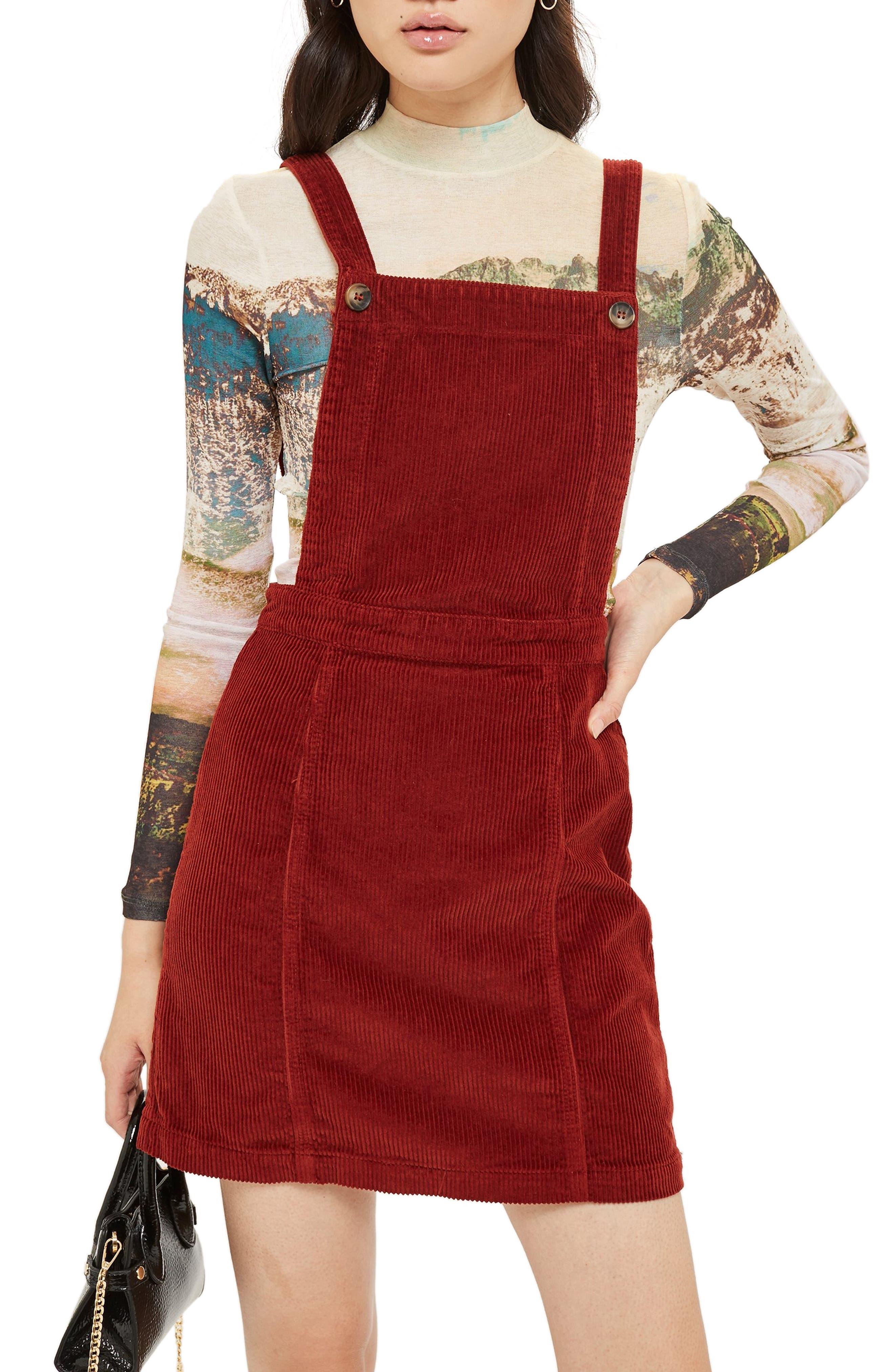 TOPSHOP,                             Horn Button Corduroy Pinafore Dress,                             Alternate thumbnail 3, color,                             RUST