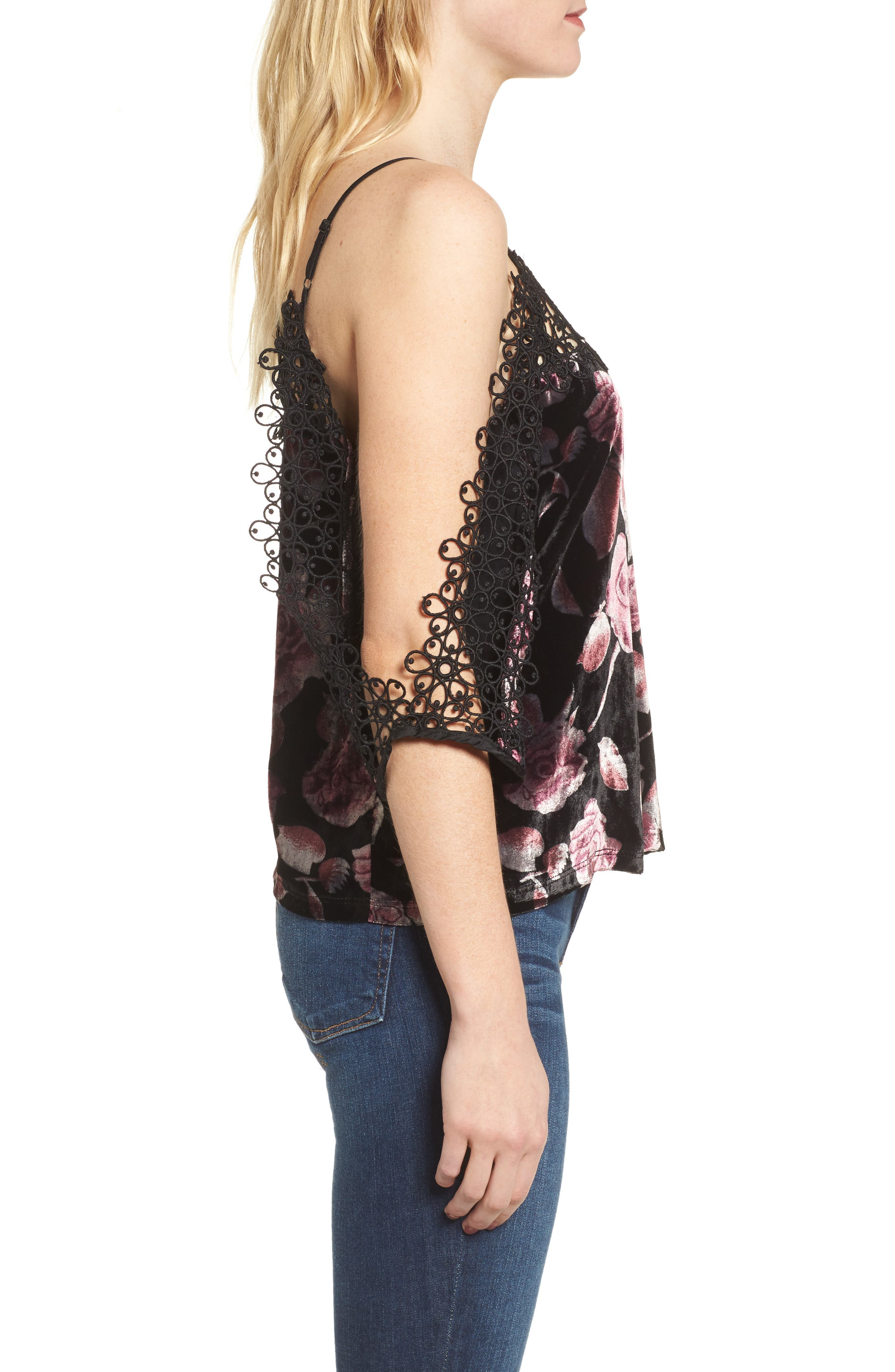 Velvet Cold Shoulder Top,                             Alternate thumbnail 3, color,