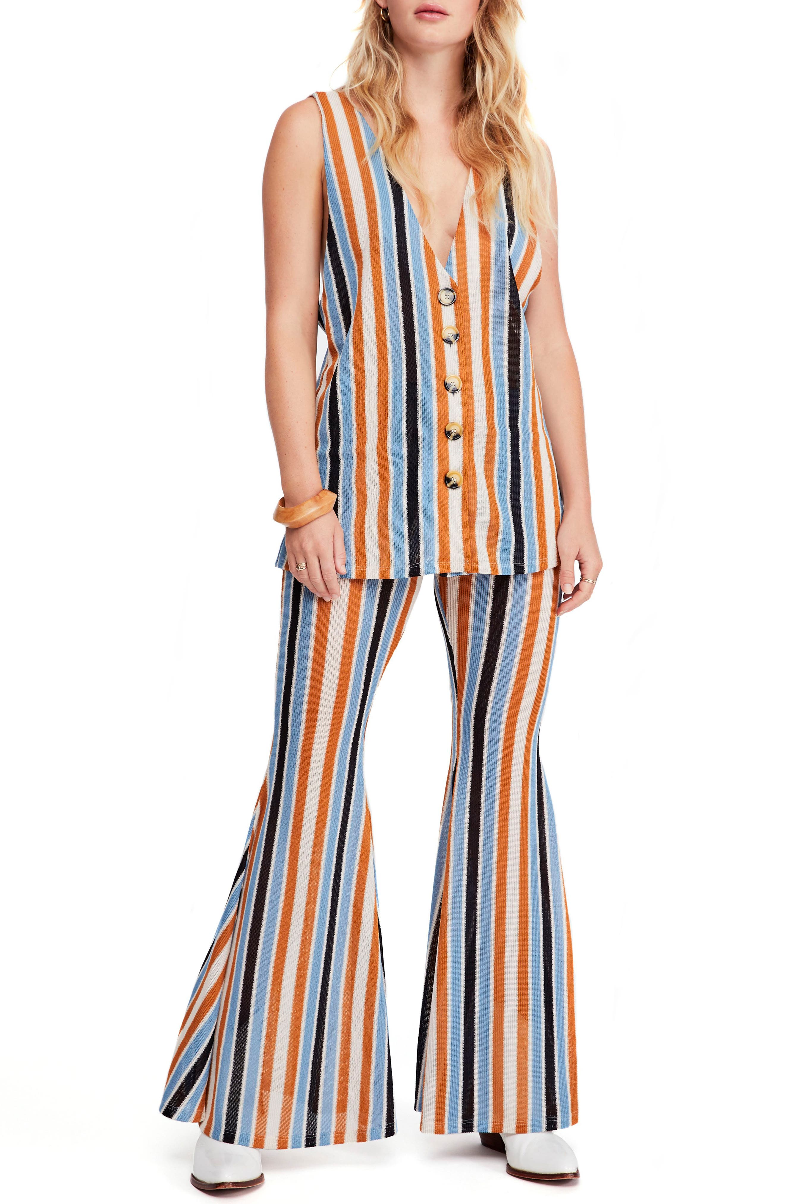 Free People Bridget Stripe Tank & Flare Pants, Blue