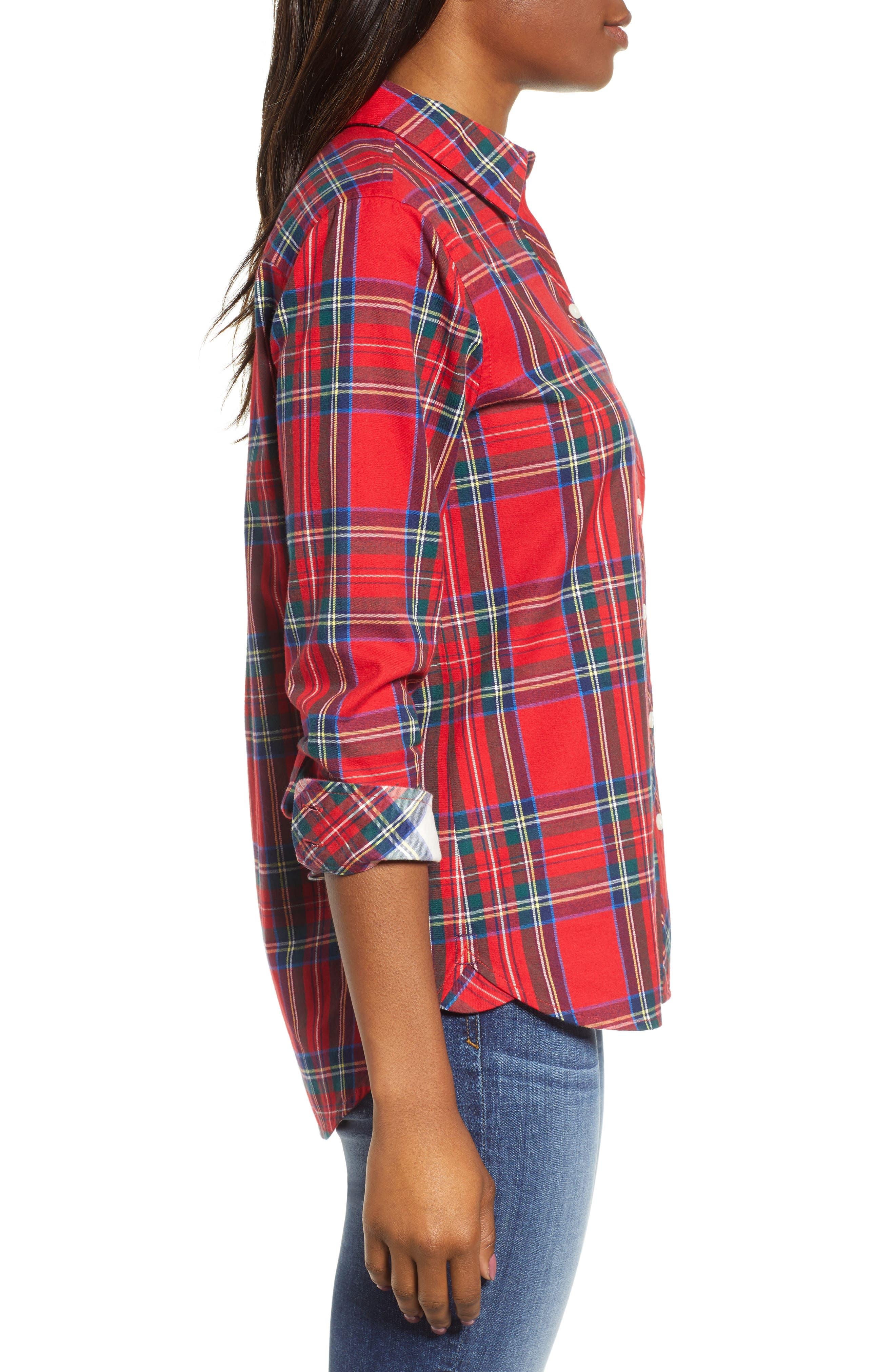 Morgan Jolly Plaid Flannel Shirt,                             Alternate thumbnail 3, color,                             600