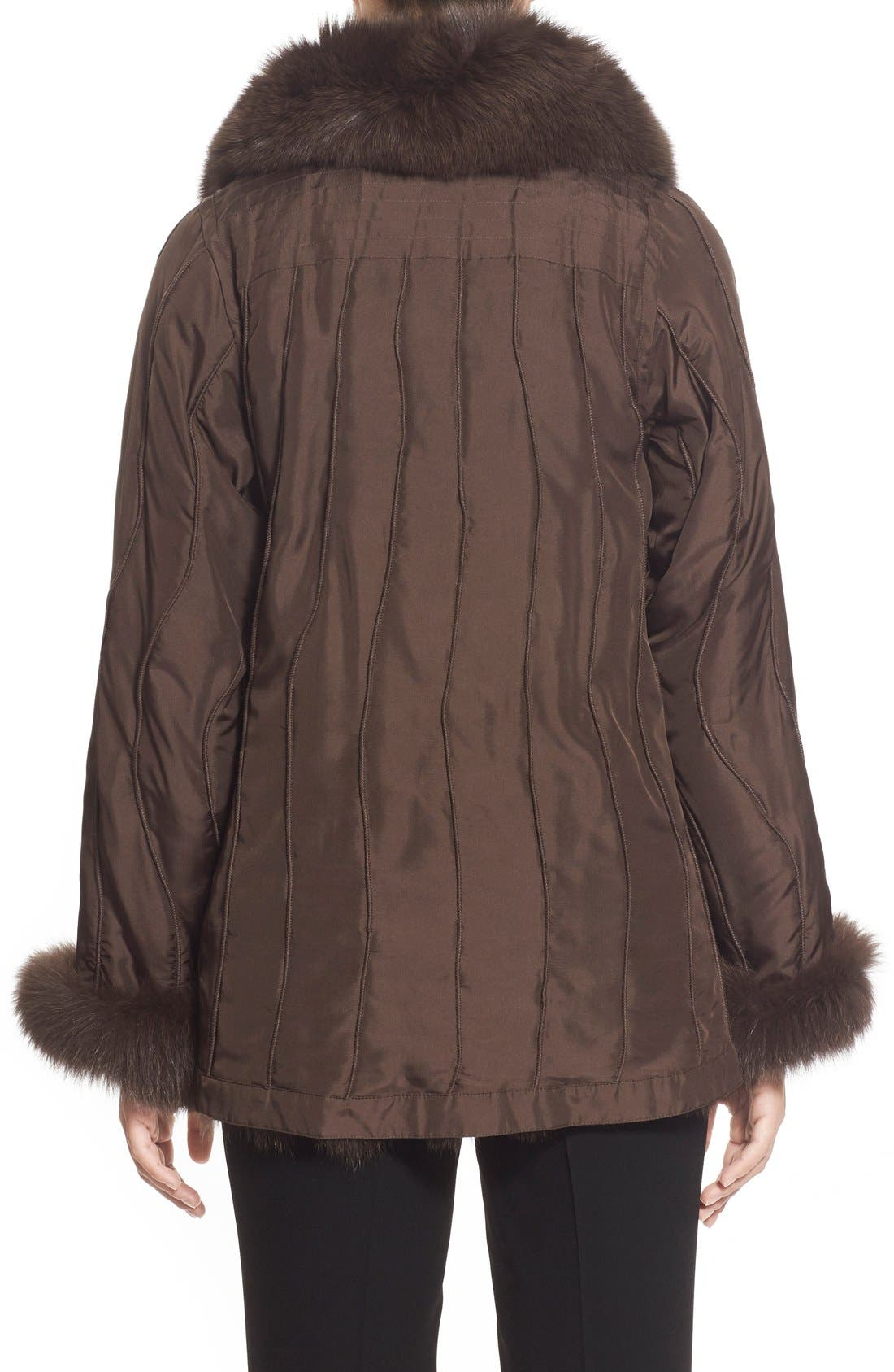 GeorgeSimonton Reversible Silk & Genuine Fox Fur Topper,                             Alternate thumbnail 14, color,