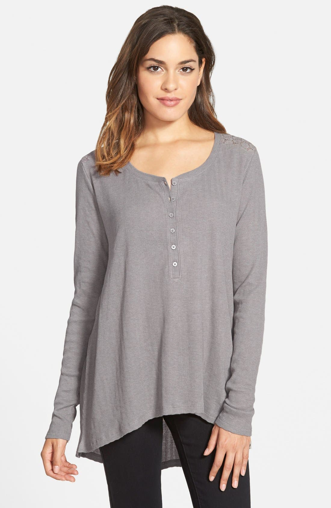 Lace Henley Tee,                             Main thumbnail 1, color,                             030