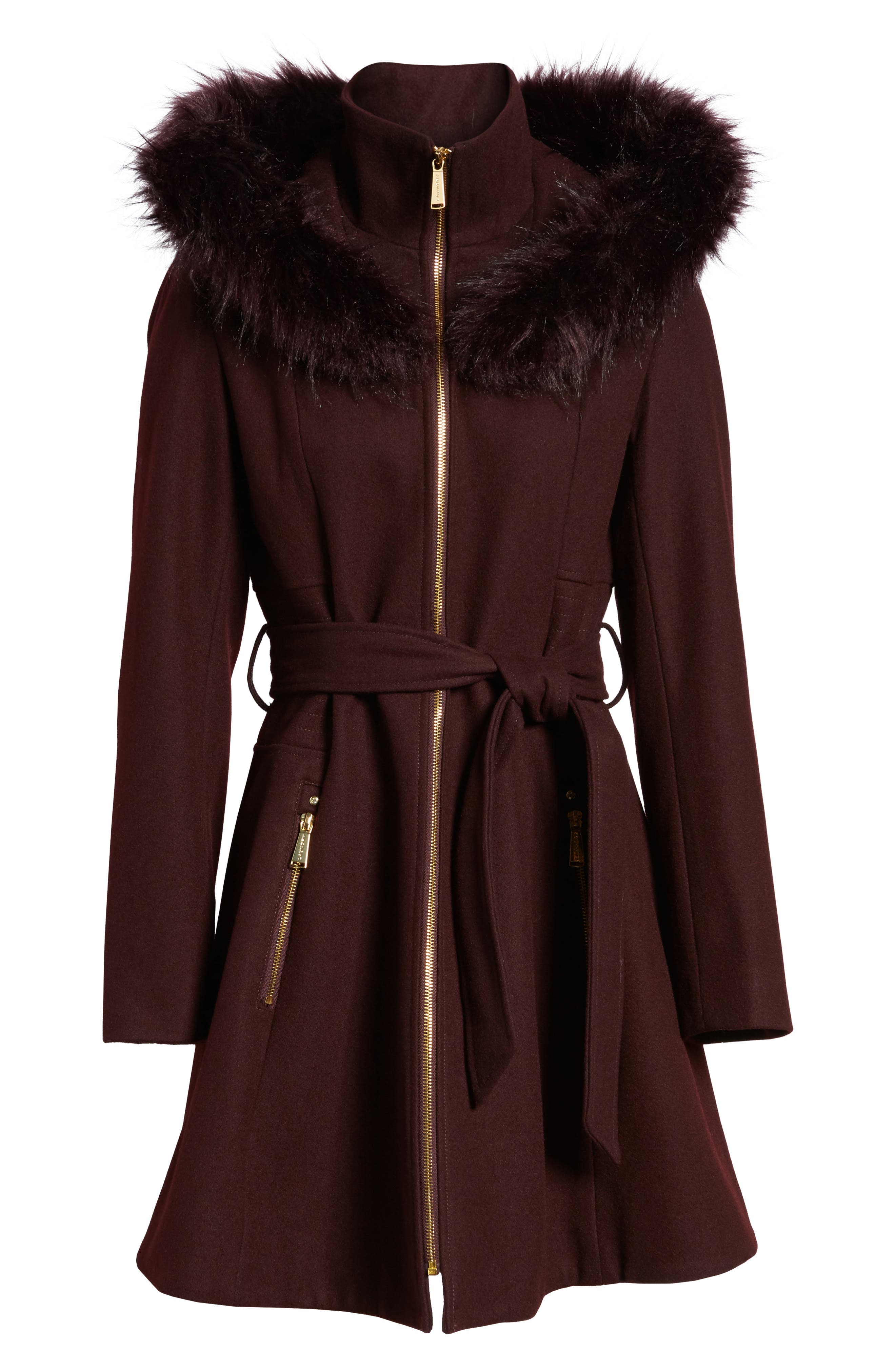 Belted Fit & Flare Coat with Faux Fur Trim,                             Alternate thumbnail 11, color,