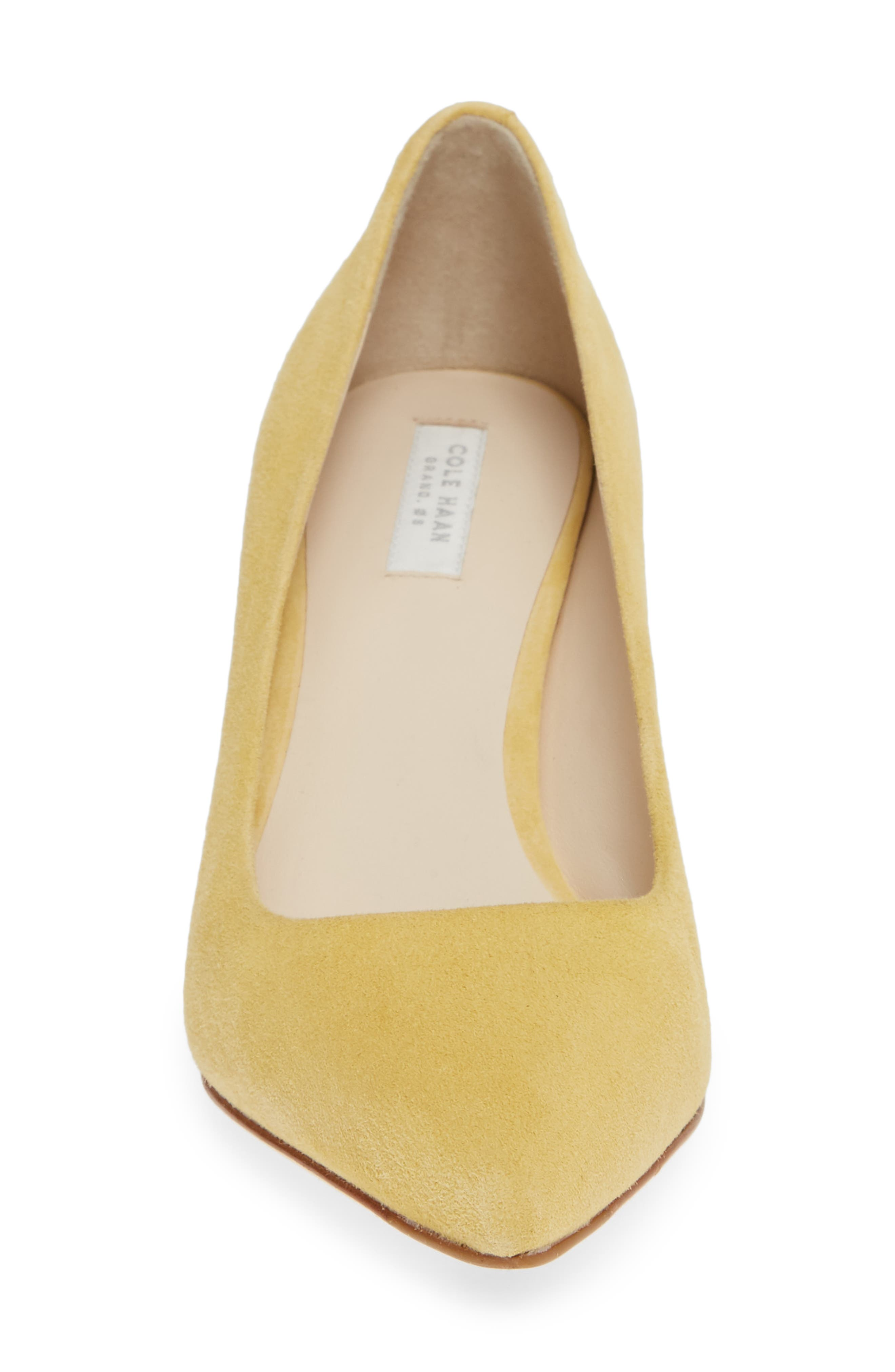 COLE HAAN,                             Vesta Pointy Toe Pump,                             Alternate thumbnail 4, color,                             SUNSET GOLD SUEDE