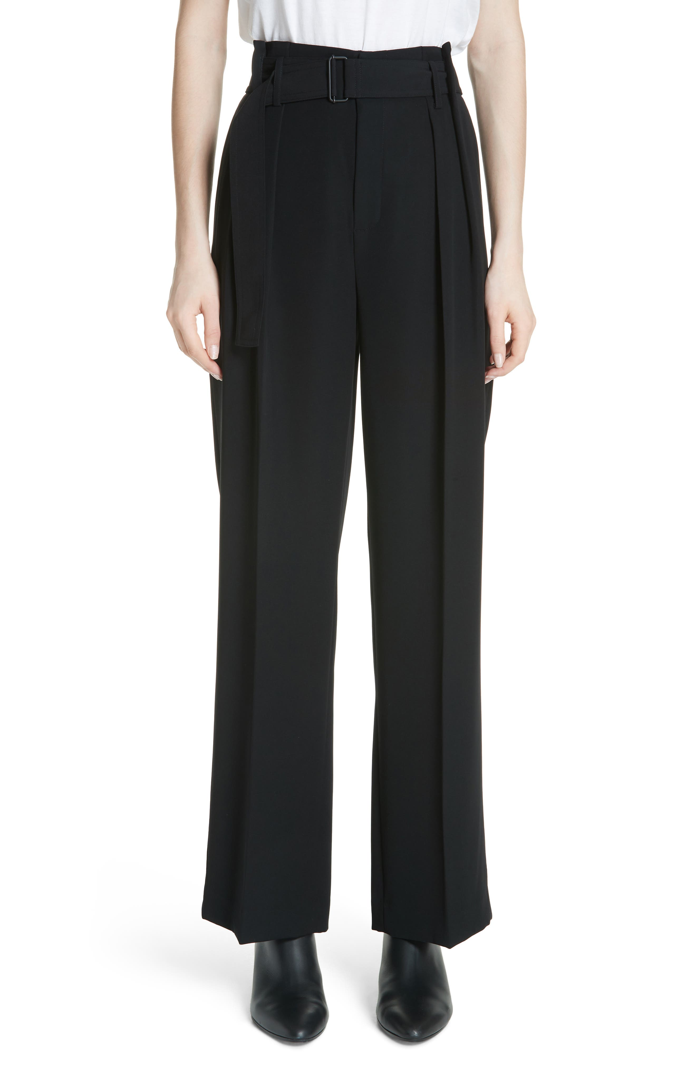 VINCE,                             Belted Wide Leg Pants,                             Main thumbnail 1, color,                             BLACK