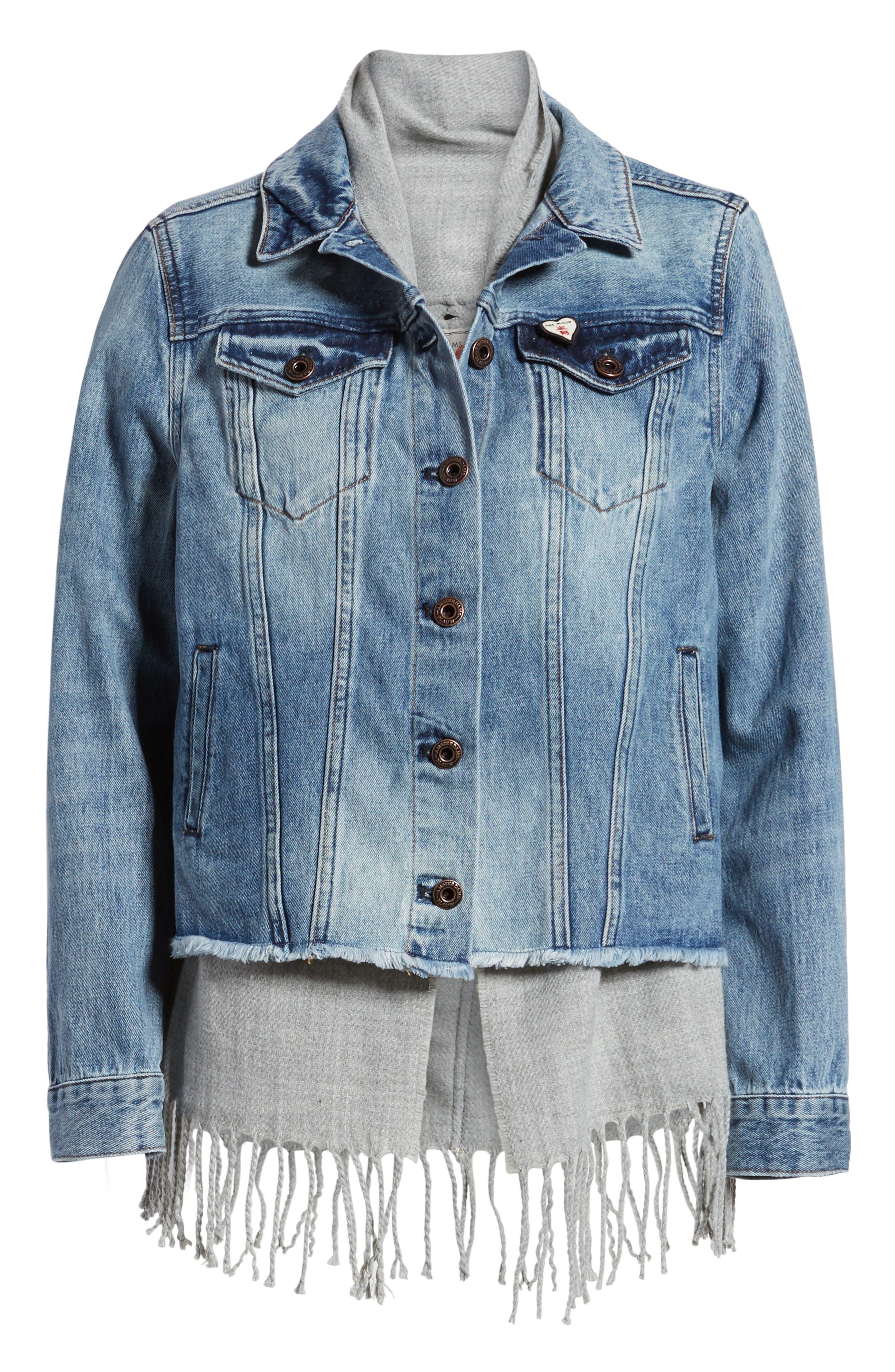 Denim Trucker Jacket with Removable Vest,                             Alternate thumbnail 5, color,                             420