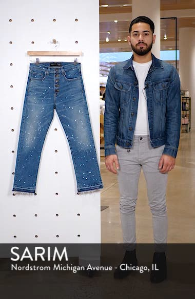 Ines Paint Splatter Crop Girlfriend Jeans, sales video thumbnail