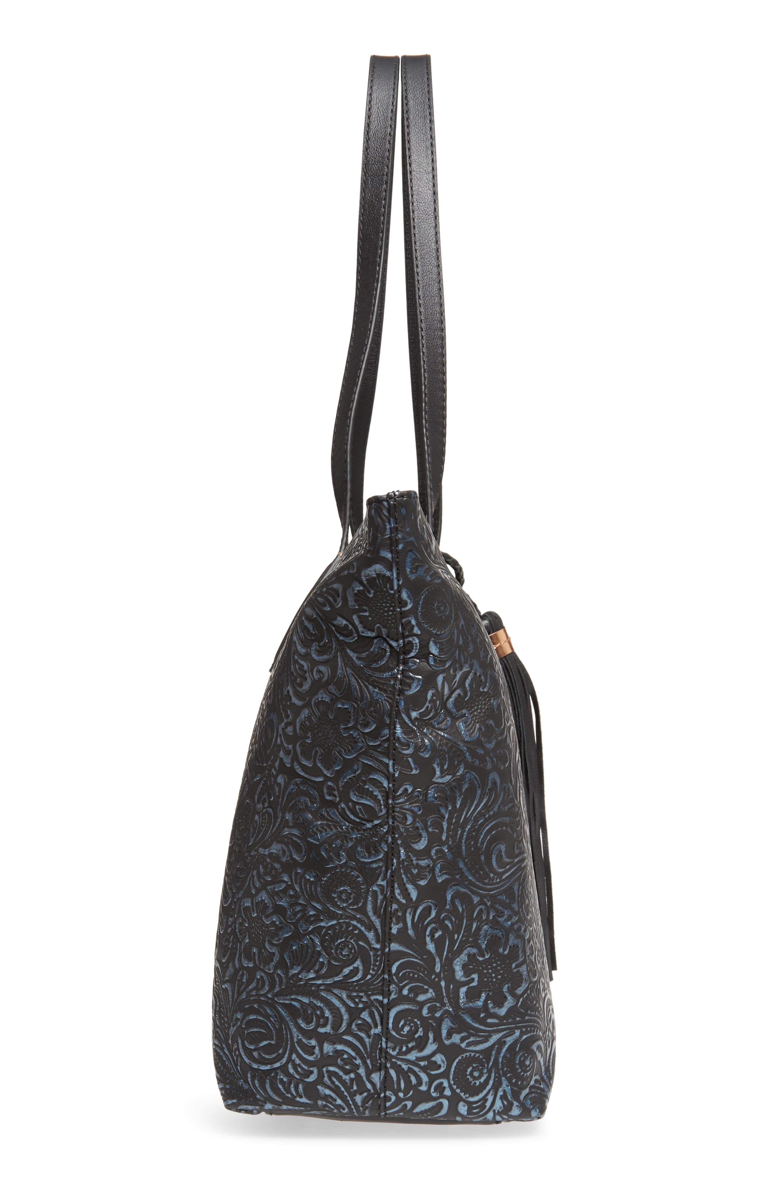 Barbados Leather Tote,                             Alternate thumbnail 5, color,                             001