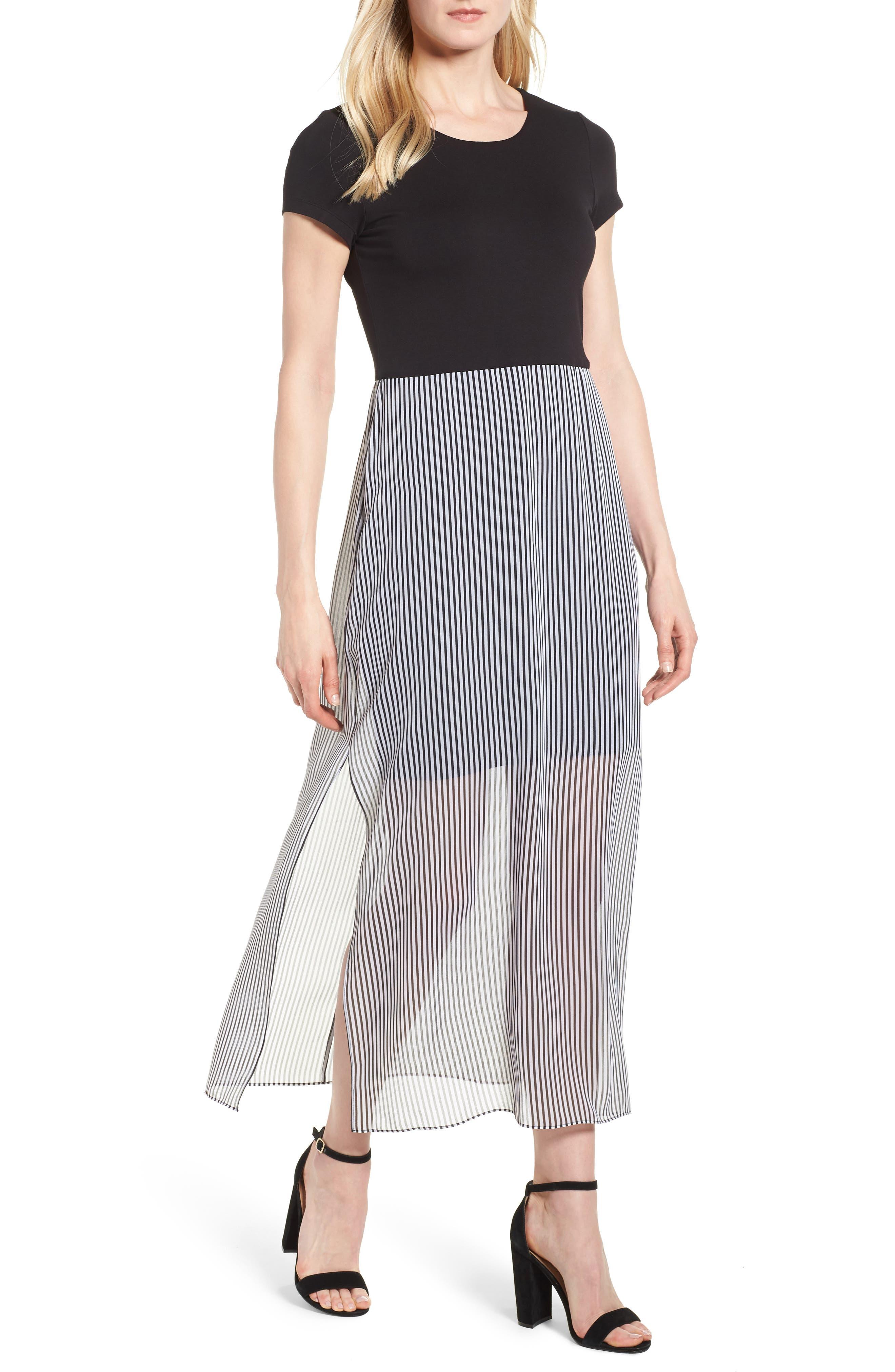 Stripe Chiffon Overlay Maxi Dress,                             Main thumbnail 1, color,                             RICH BLACK