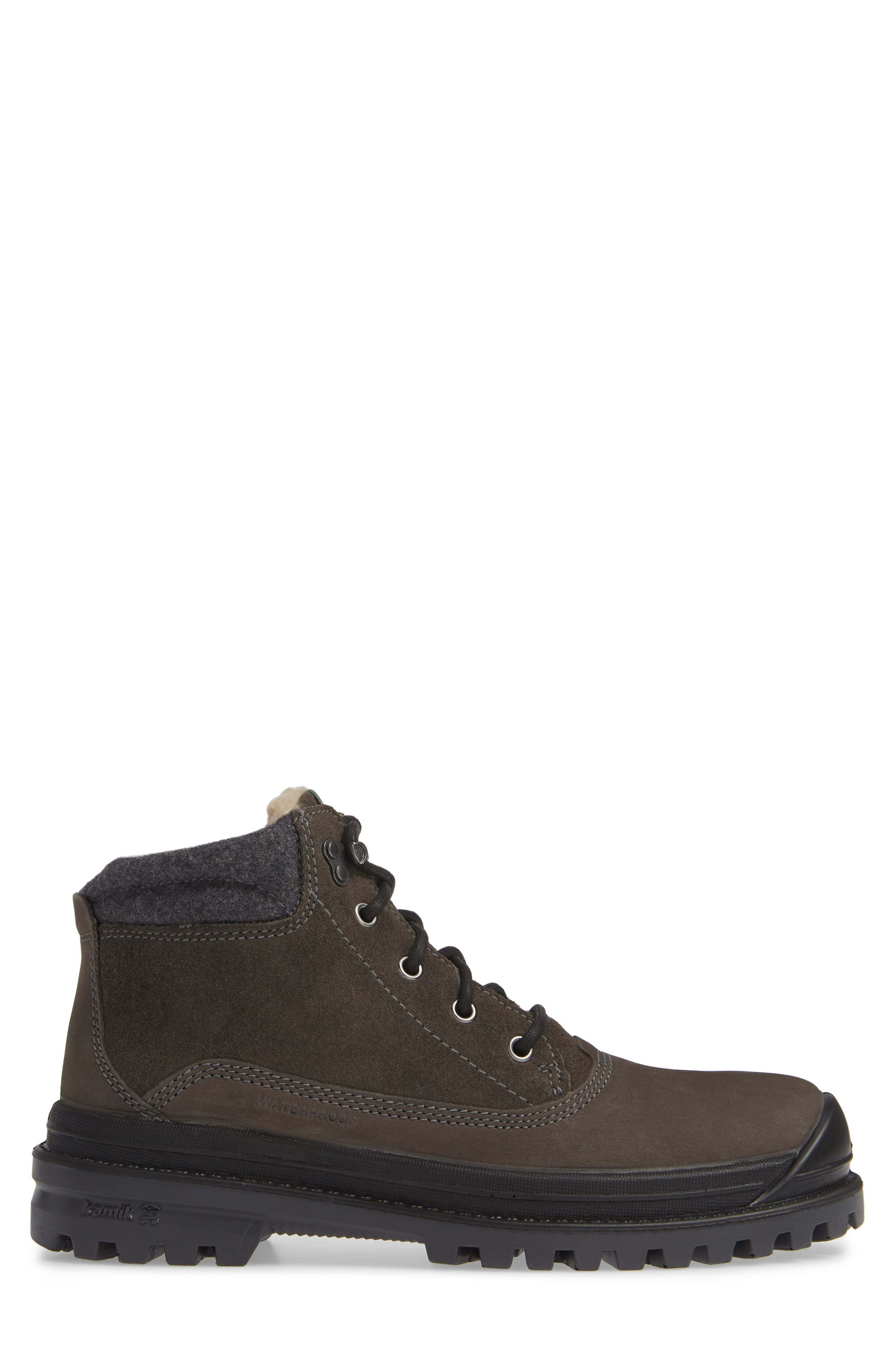 KAMIK,                             Griffin Mid Waterproof Boot,                             Alternate thumbnail 3, color,                             CHARCOAL LEATHER