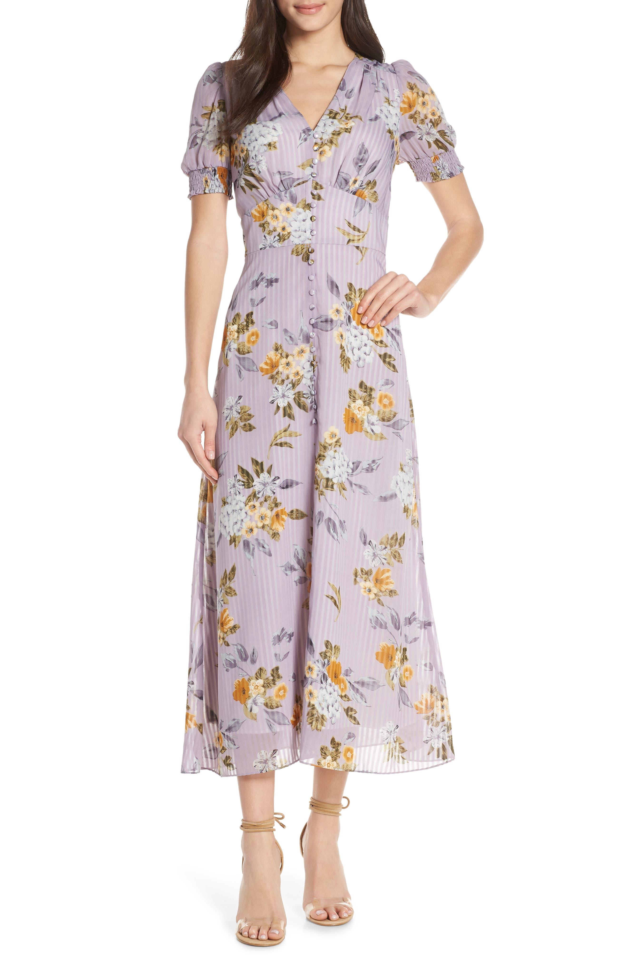 Chelsea28 V-Neck Floral Midi Dress, Purple