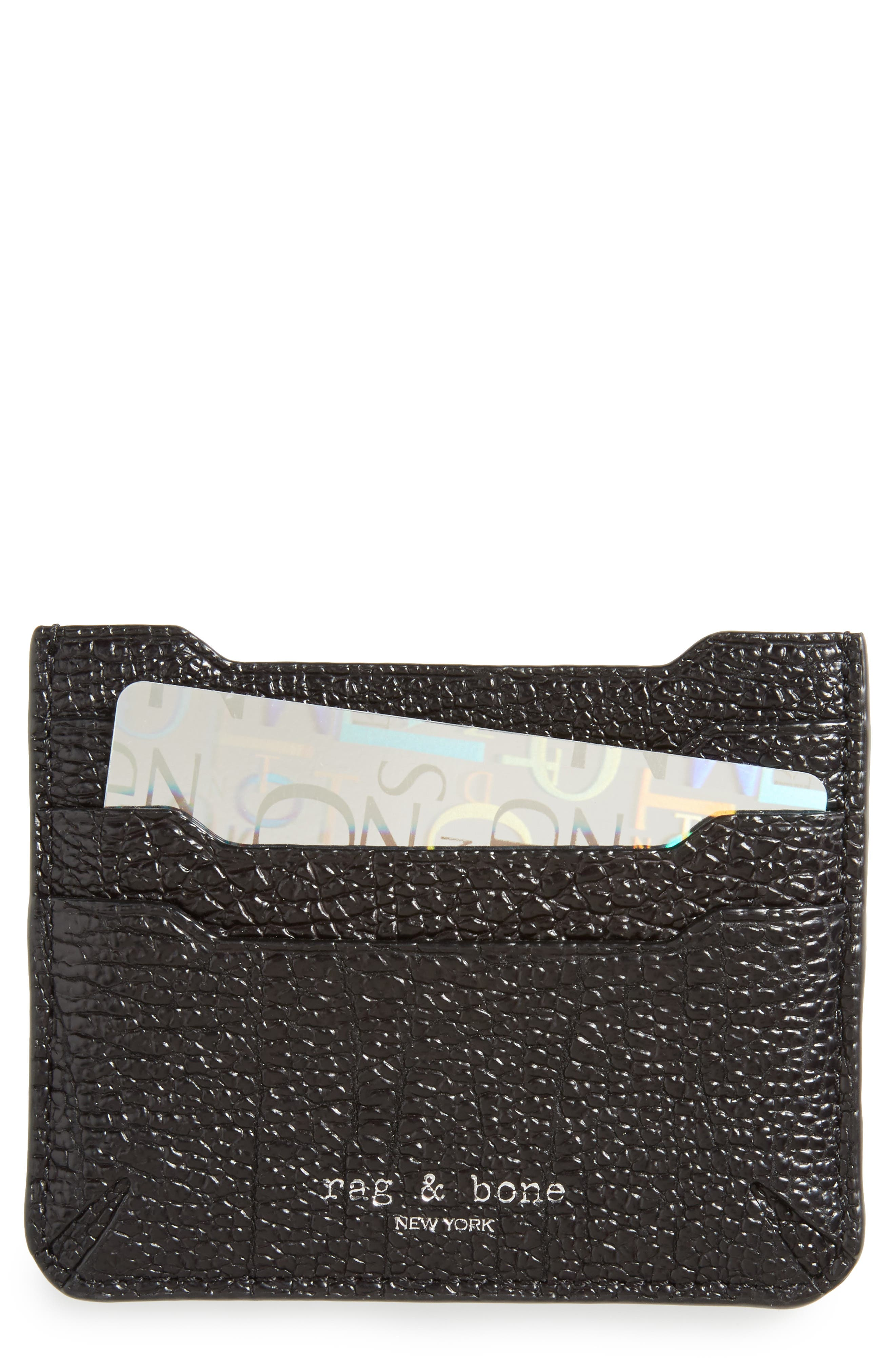 'Crosby' Crackle Leather Card Case,                         Main,                         color, 001