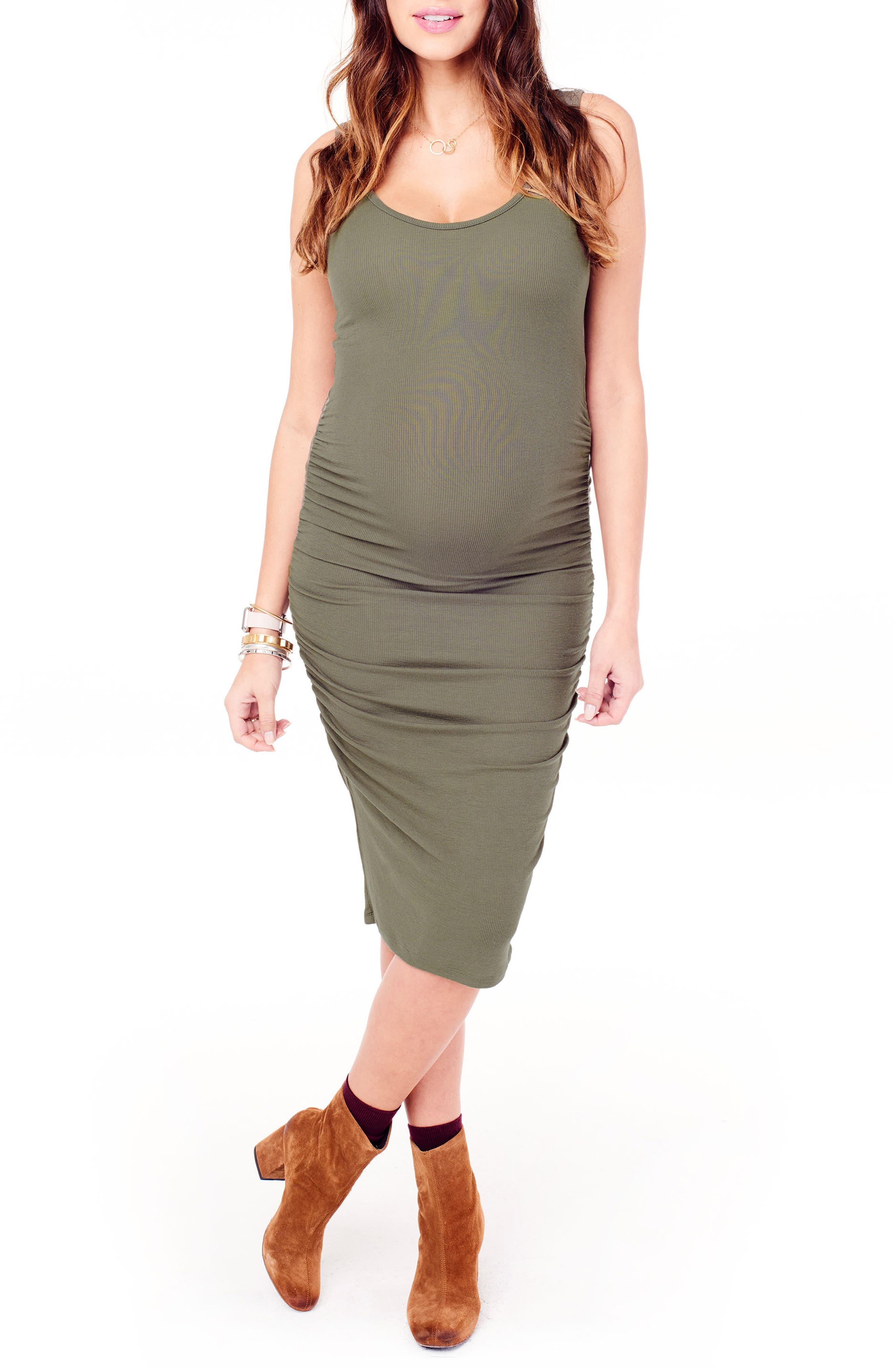 Ingrid & Isabel Shirred Midi Maternity Tank Dress, Green