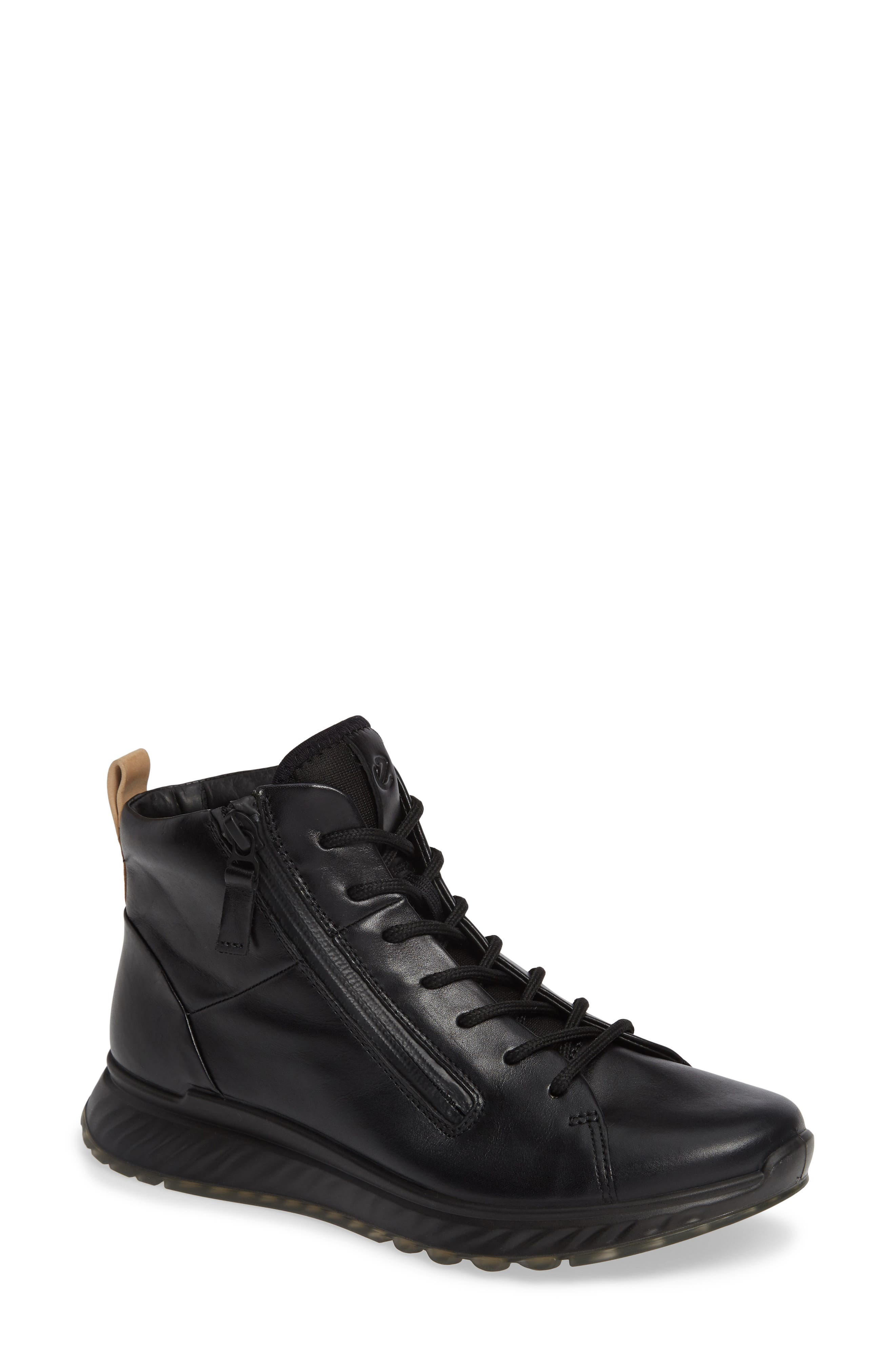 ST1 High Top Sneaker,                             Main thumbnail 1, color,                             BLACK LEATHER
