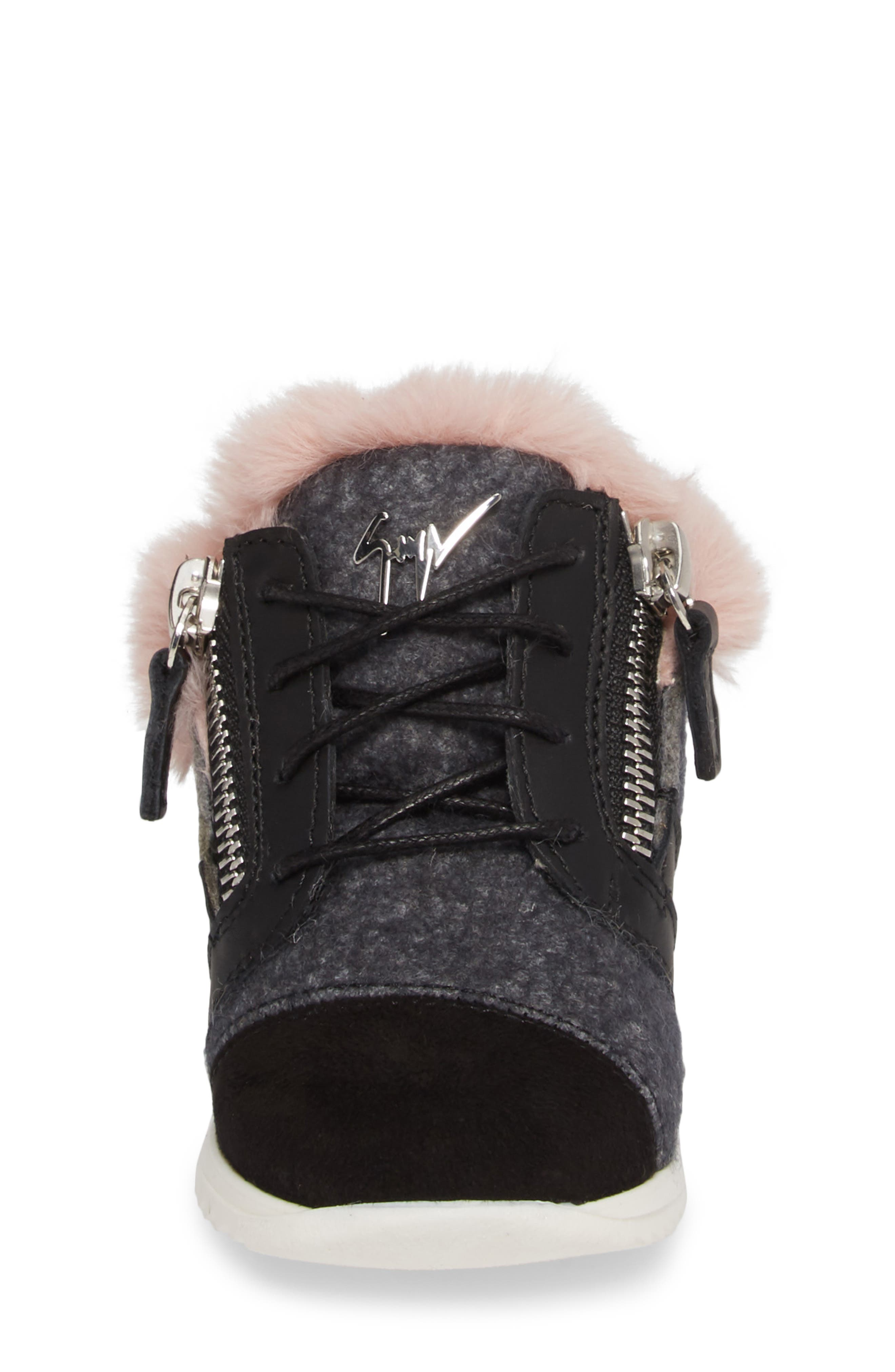 Logobal Mono Gomma Sneaker,                             Alternate thumbnail 4, color,                             BLACK W/ PINK FUR