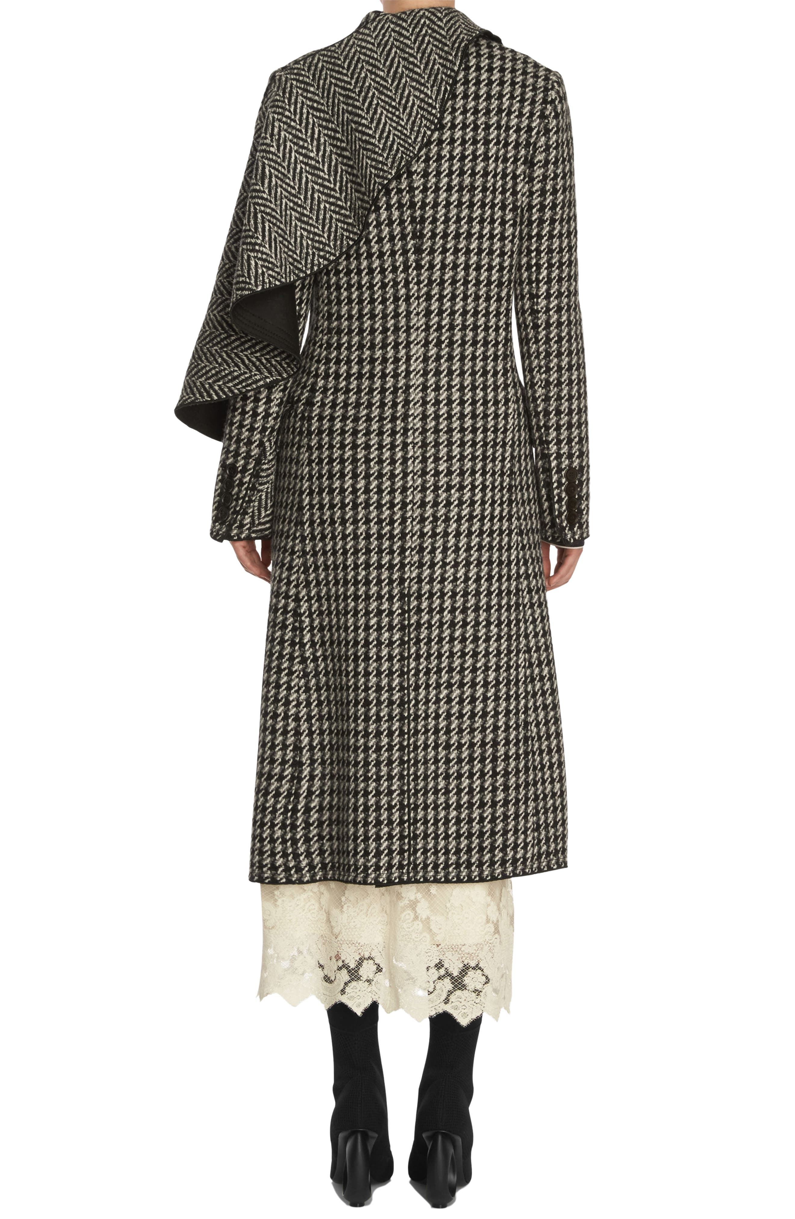 Houndstooth Wool Coat,                             Alternate thumbnail 2, color,                             001