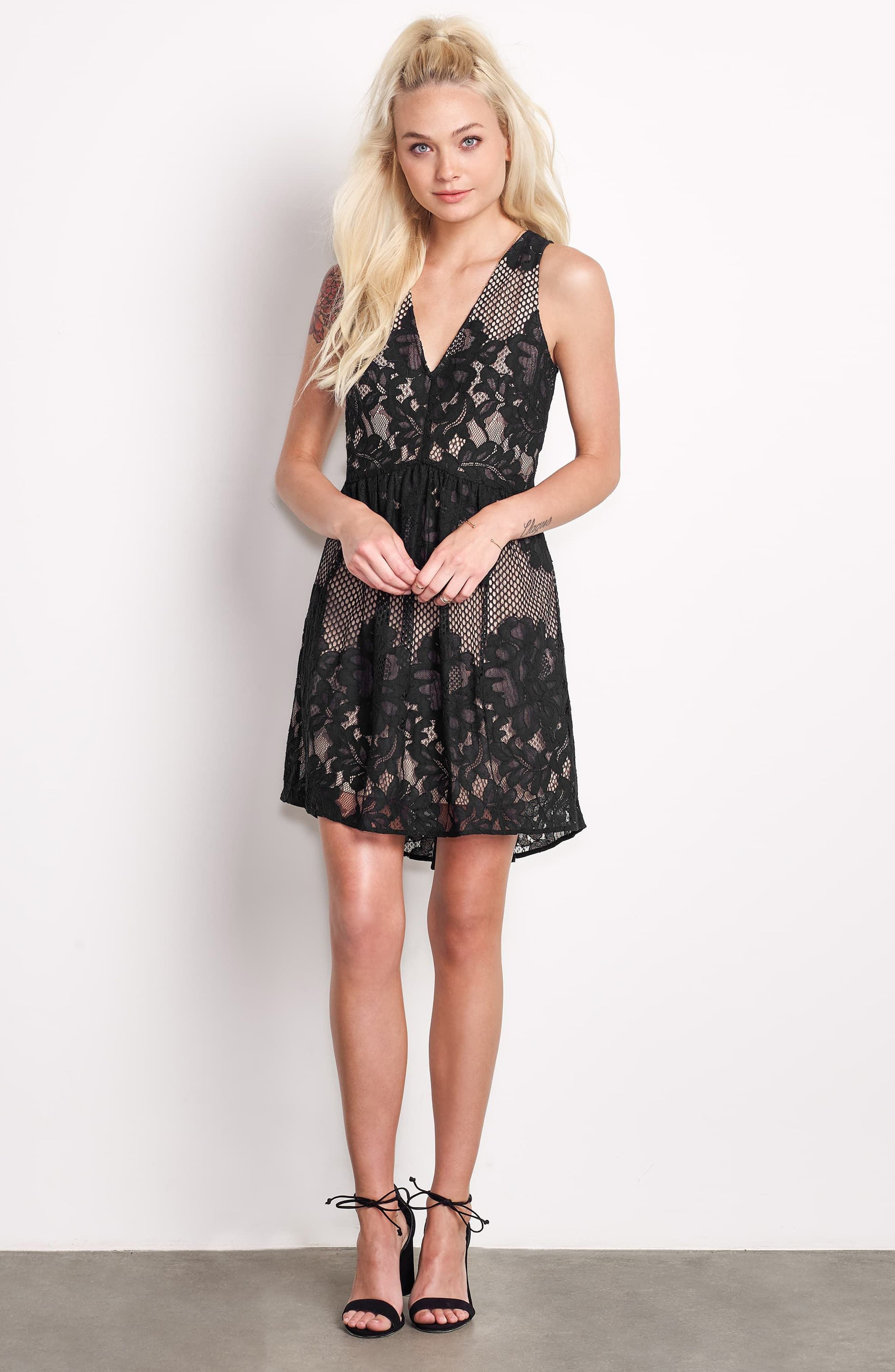 La Grande Roue Lace Skater Dress,                             Alternate thumbnail 7, color,