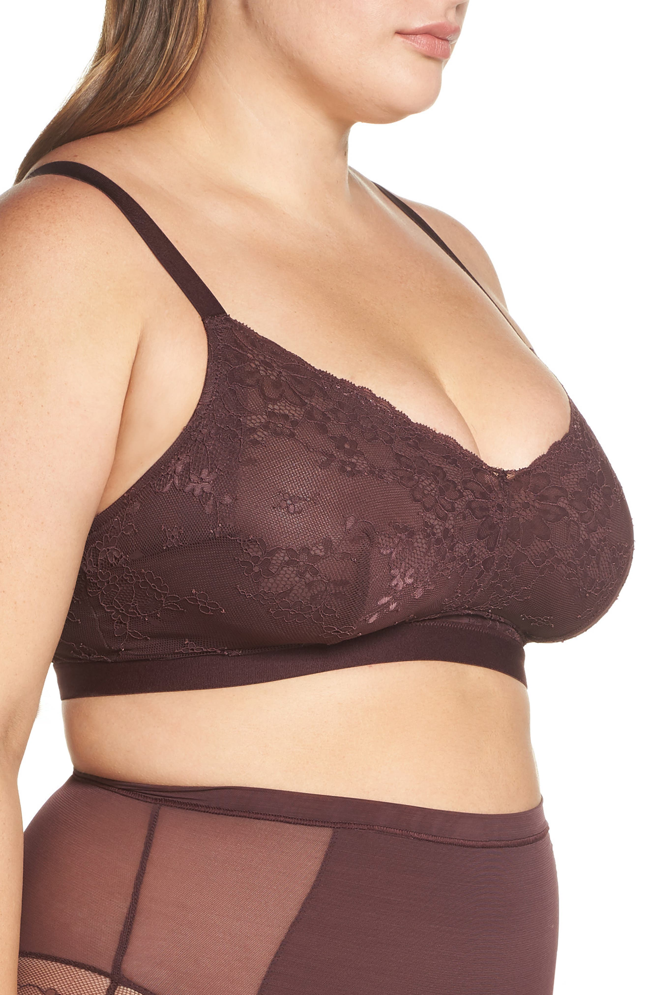 Spotlight On Lace Bralette,                             Alternate thumbnail 4, color,                             GARNET