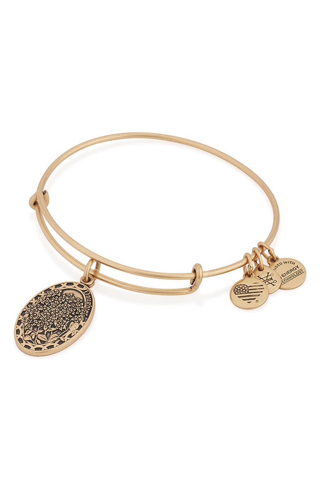 'I Love You Daughter' Expandable Wire Bangle,                             Alternate thumbnail 3, color,                             710
