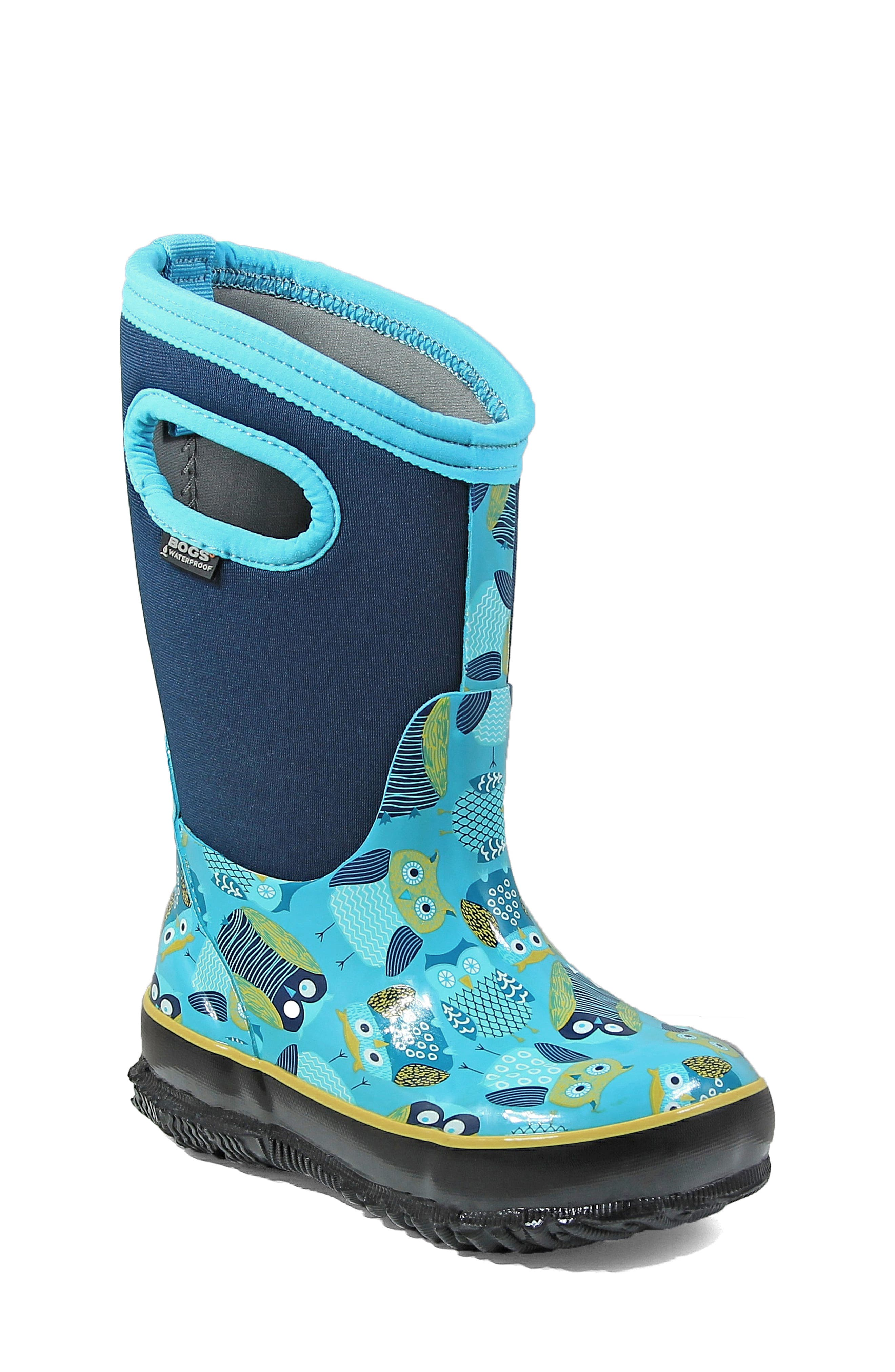 Toddler Girls Bogs Classic Insulated Waterproof Owl Boot Size 11 M  Blue