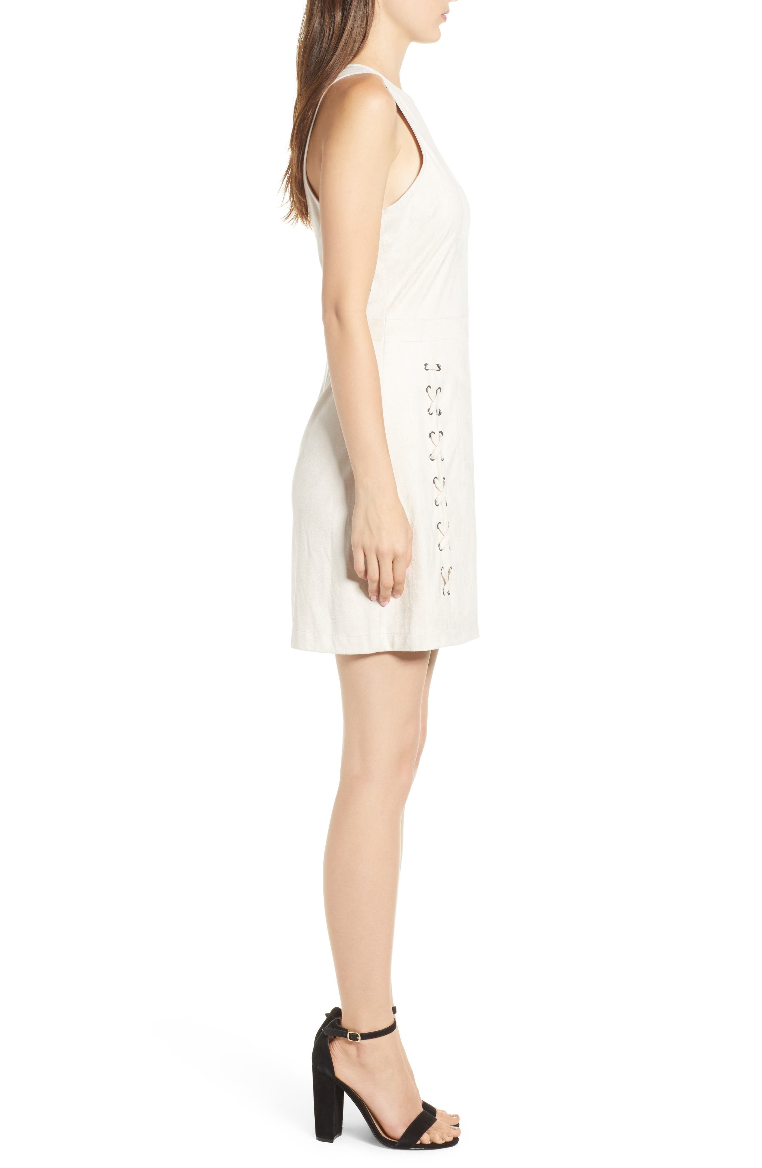 Daton Faux Suede Dress,                             Alternate thumbnail 3, color,                             SOFT BEIGE