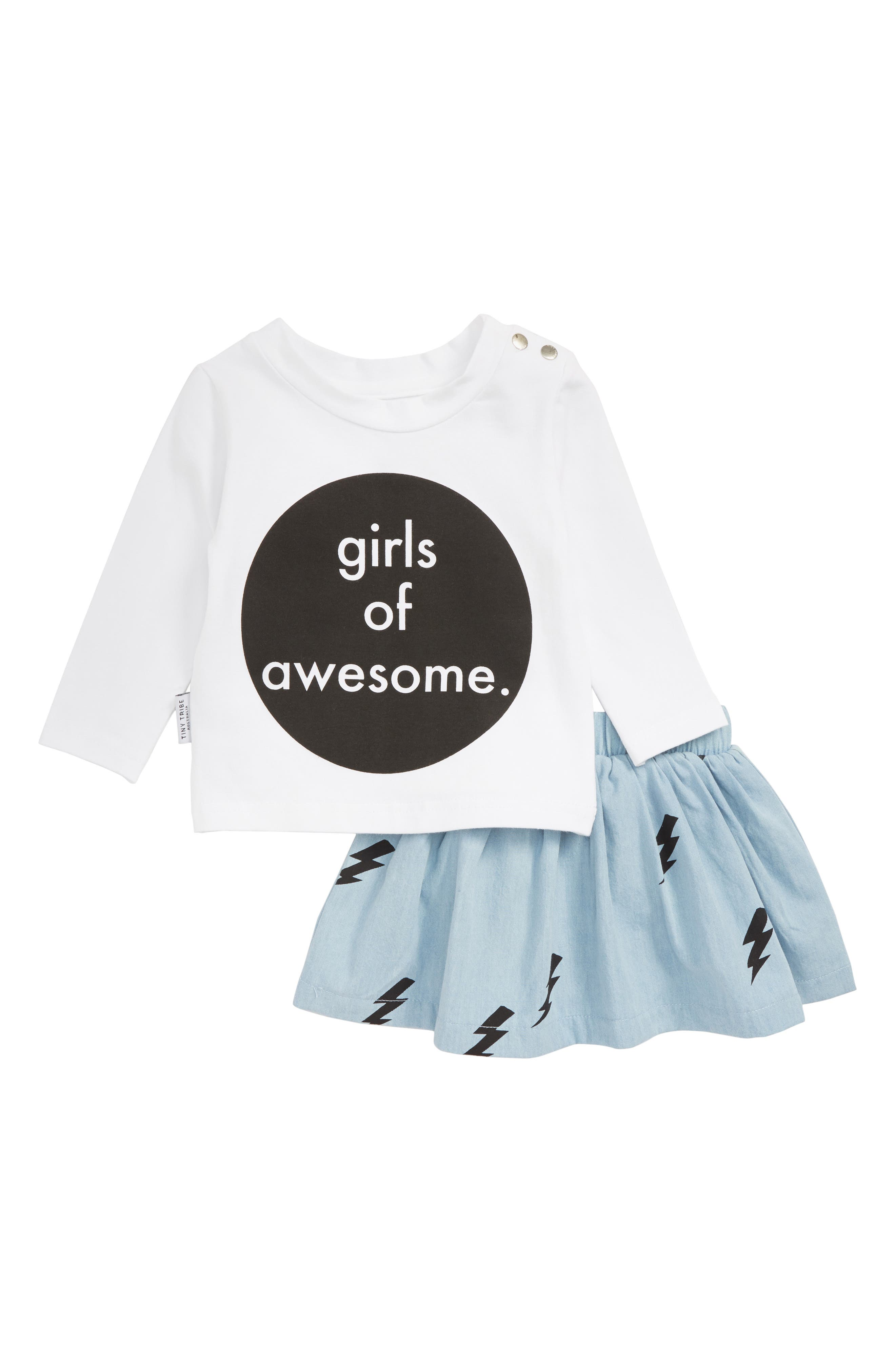 Girls of Awesome Tee & Skirt Set,                         Main,                         color, 109
