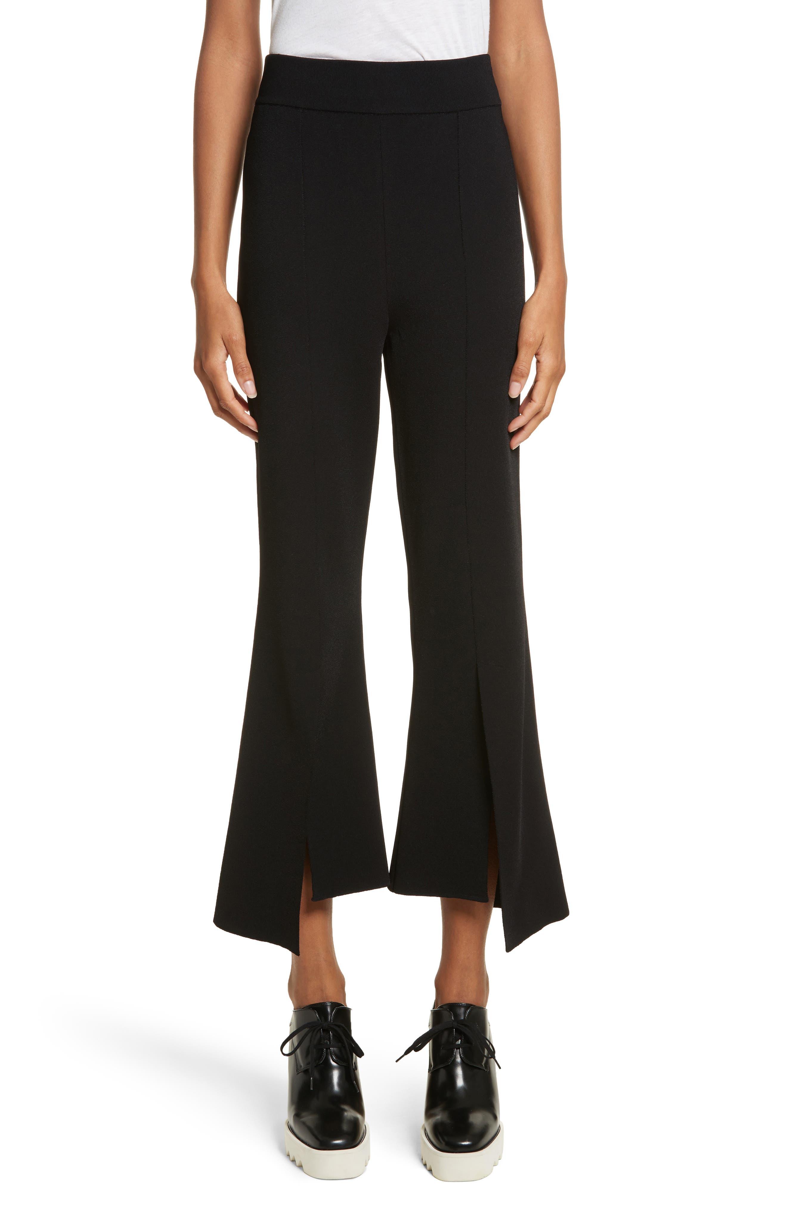 Compact Knit Crop Flare Pants,                             Main thumbnail 1, color,                             001