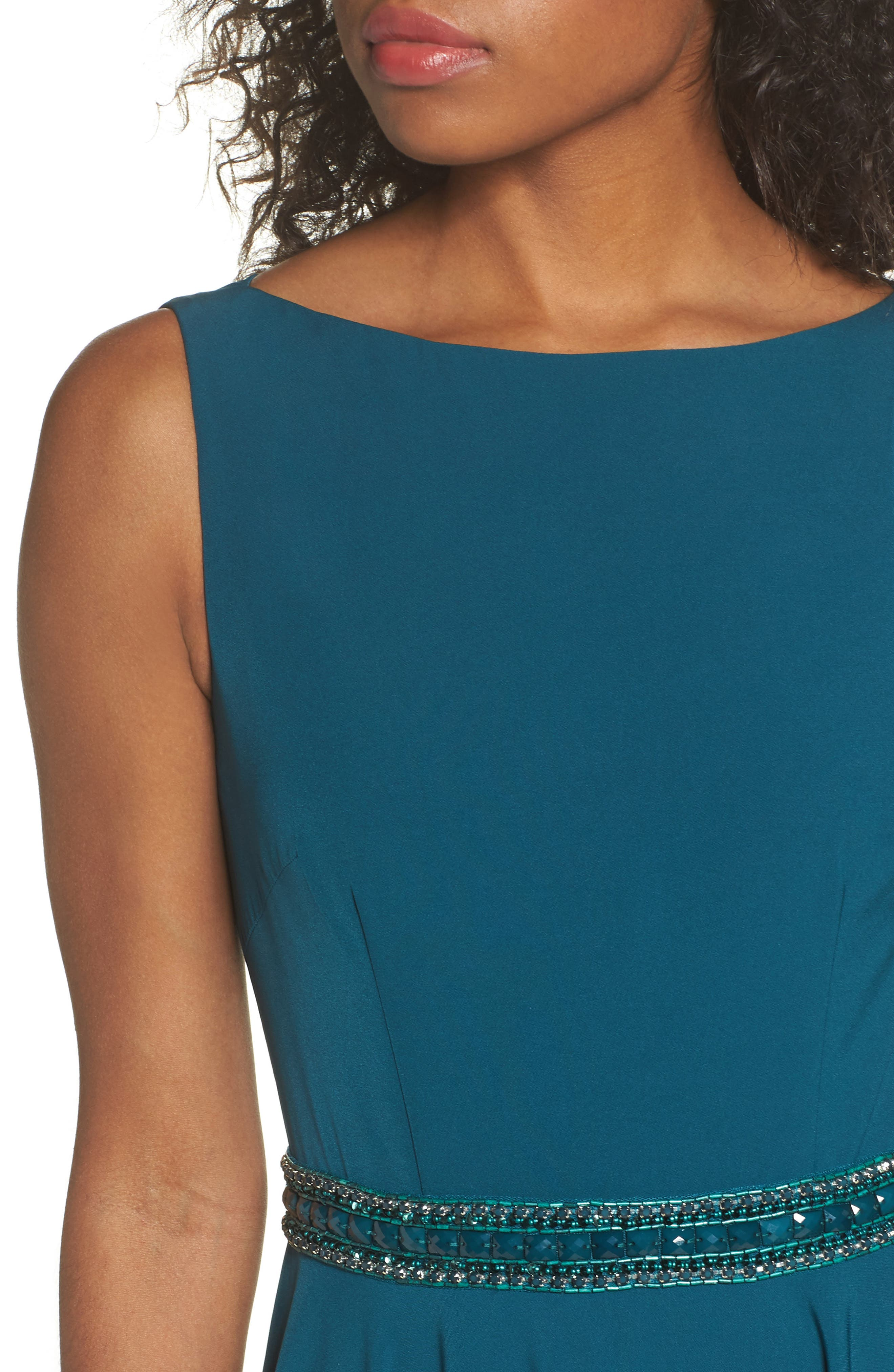 Beaded Waist Gown,                             Alternate thumbnail 4, color,                             TEAL