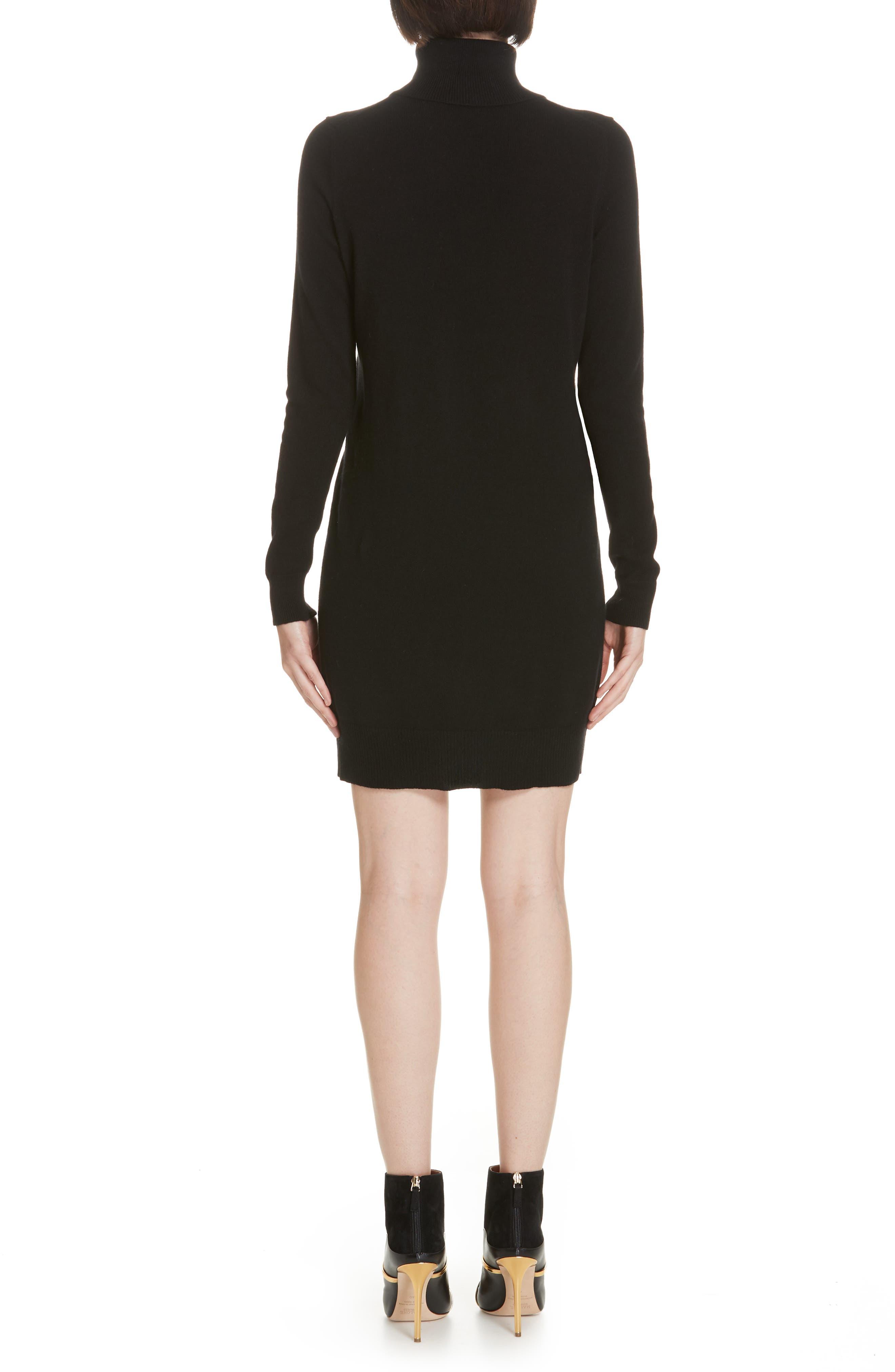 Cashmere Turtleneck Sweater Dress,                             Alternate thumbnail 2, color,                             001
