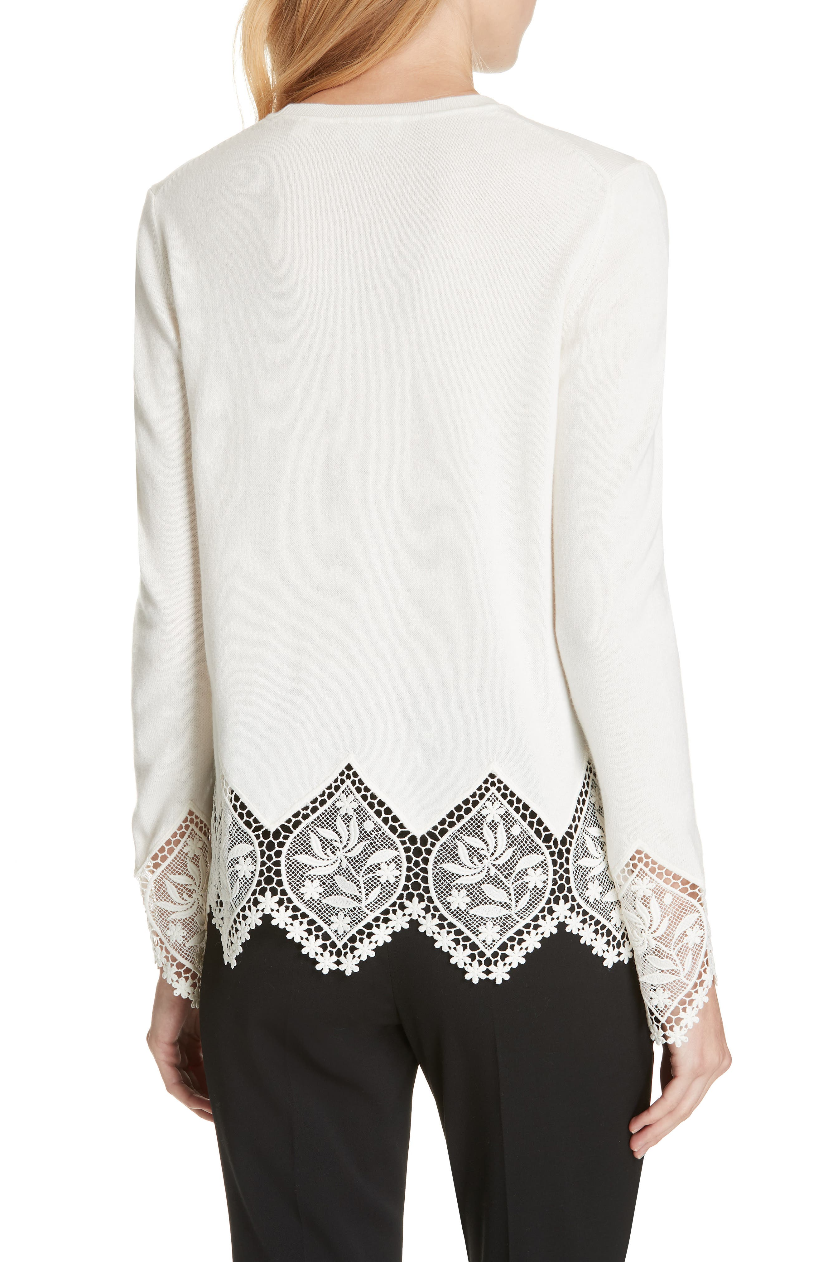 Aylex Lace Detail Wool Cashmere Blend Sweater,                             Alternate thumbnail 2, color,                             CREAM