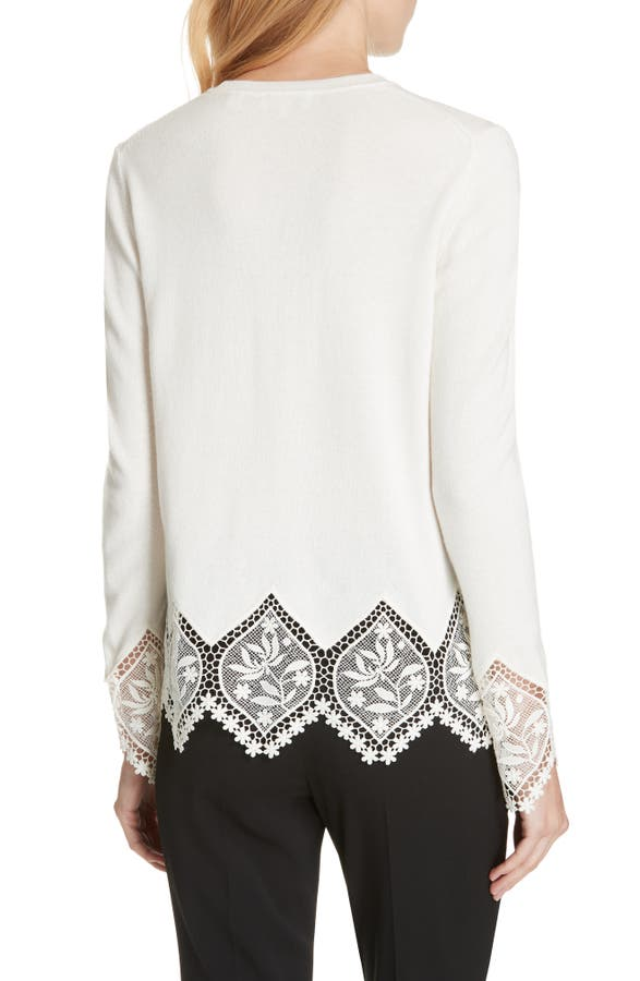 f8ceef5ba4 Ted Baker London Aylex Lace Detail Wool Cashmere Blend Sweater ...