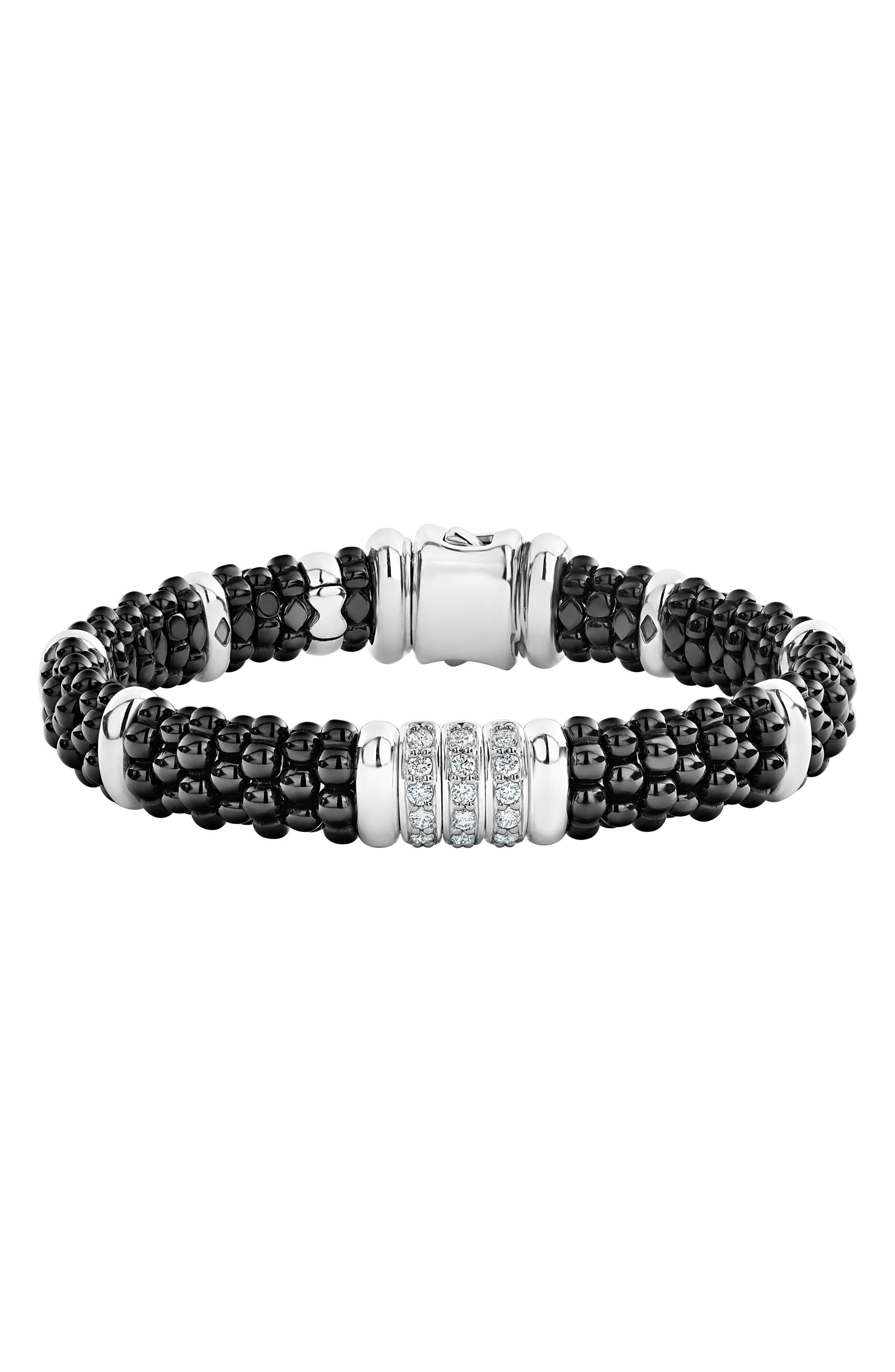 LAGOS Sterling Silver Black Caviar Collection Pave Diamond & Black Ceramic Station Bracelet in Silver/ Black