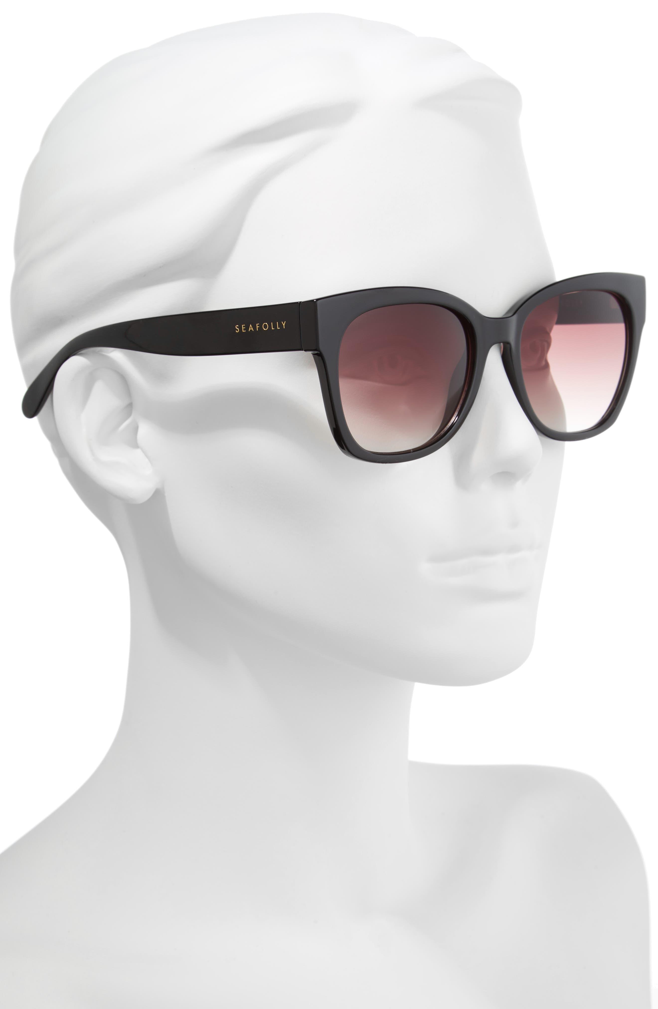 Summerland 55mm Cat Eye Sunglasses,                             Alternate thumbnail 2, color,                             BLACK