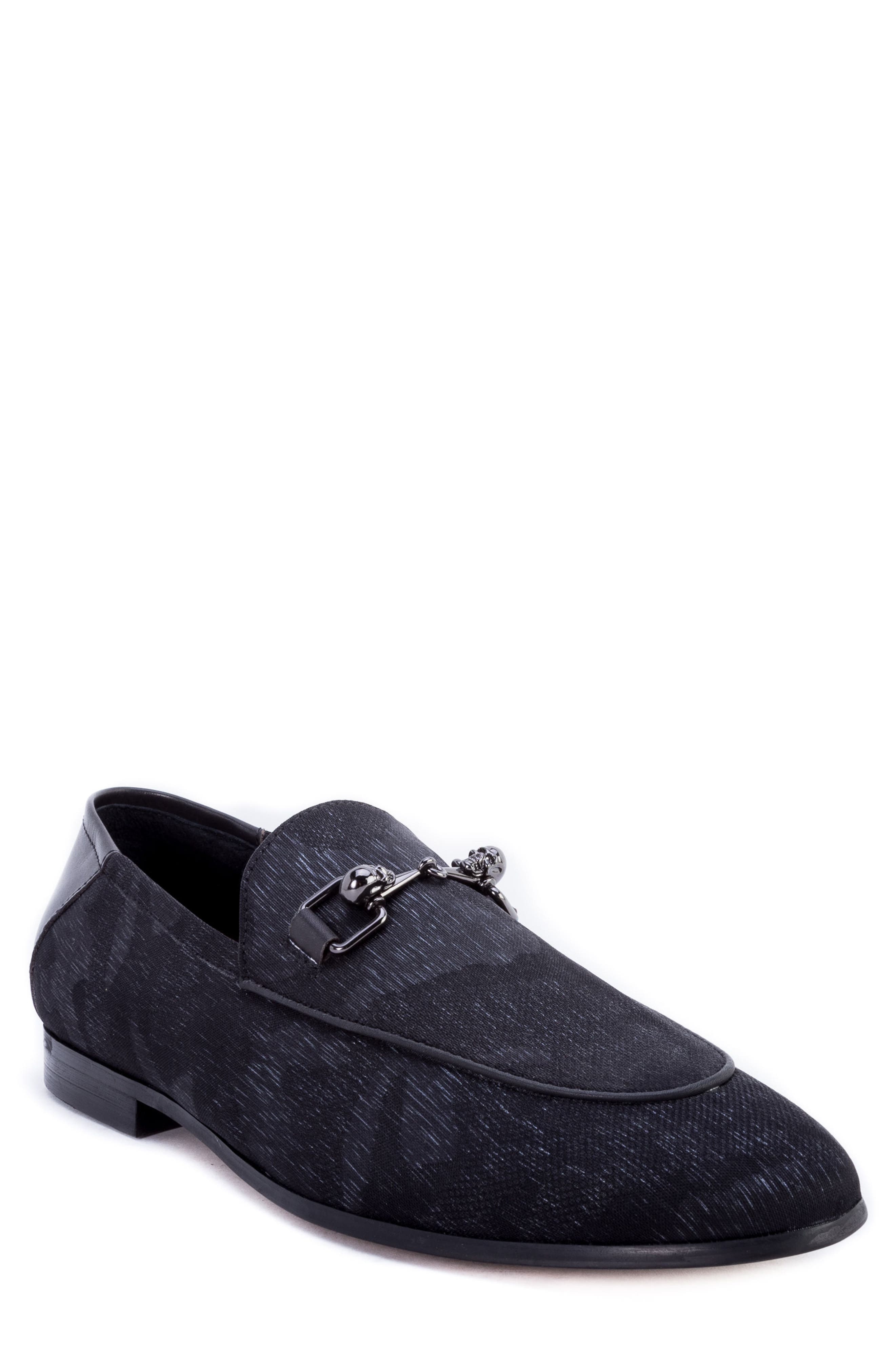 Barton Camouflage Bit Loafer,                             Main thumbnail 1, color,                             GREY FABRIC