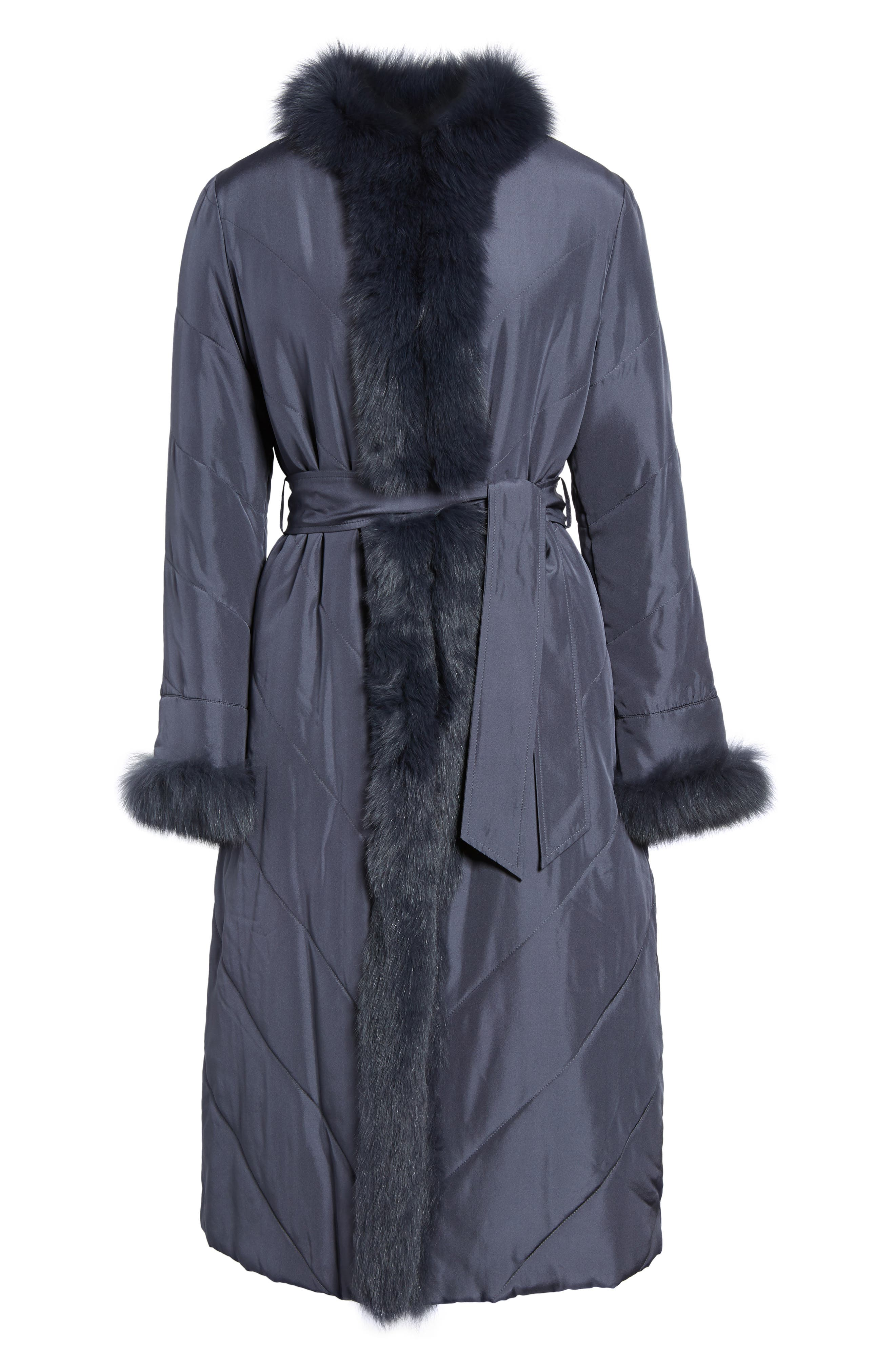 Couture Packable Silk Coat with Genuine Fox Fur & Genuine Rabbit Fur,                             Alternate thumbnail 10, color,
