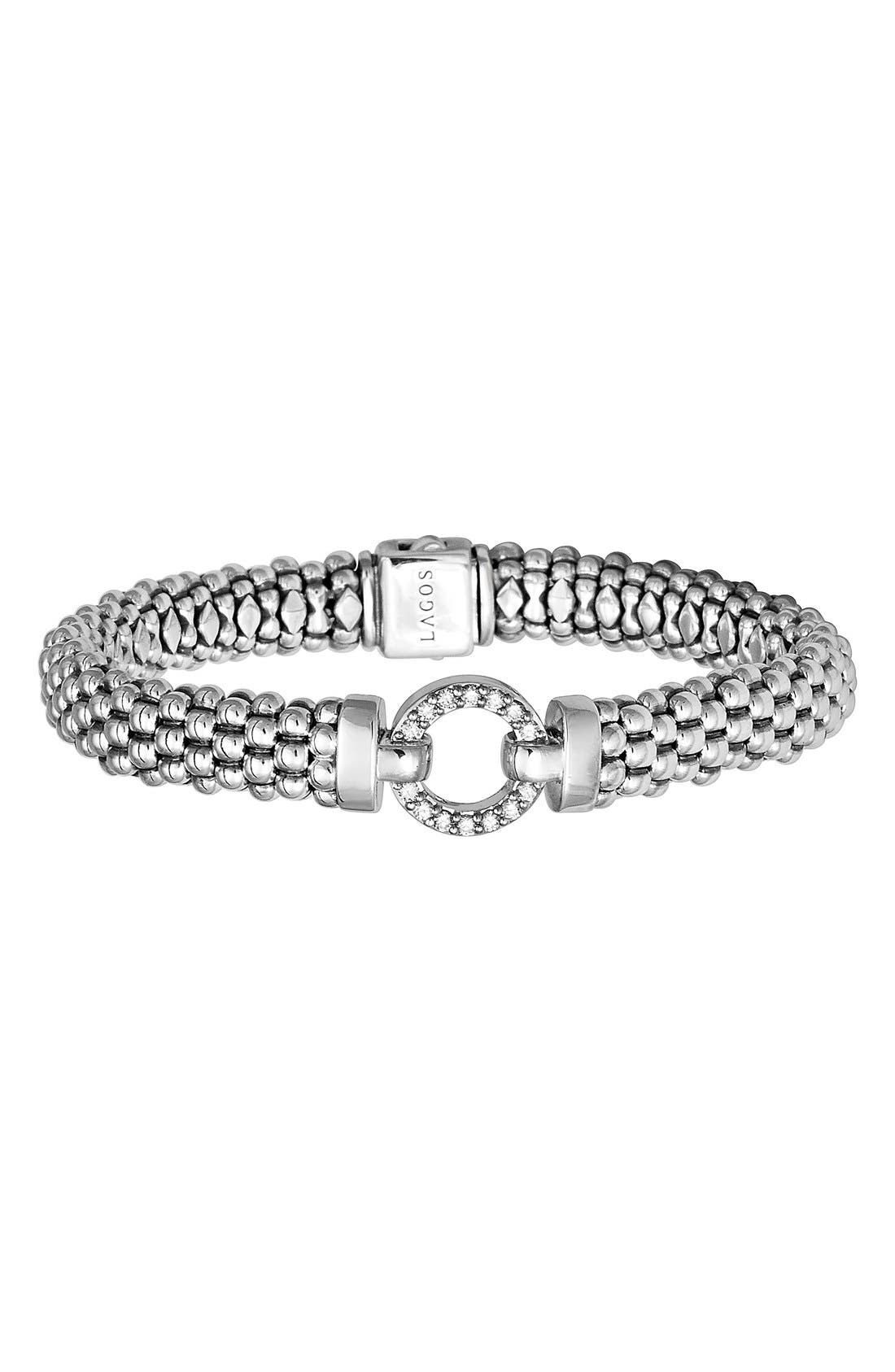'Enso - Circle Game' Diamond Caviar Rope Bracelet,                             Main thumbnail 1, color,                             SILVER