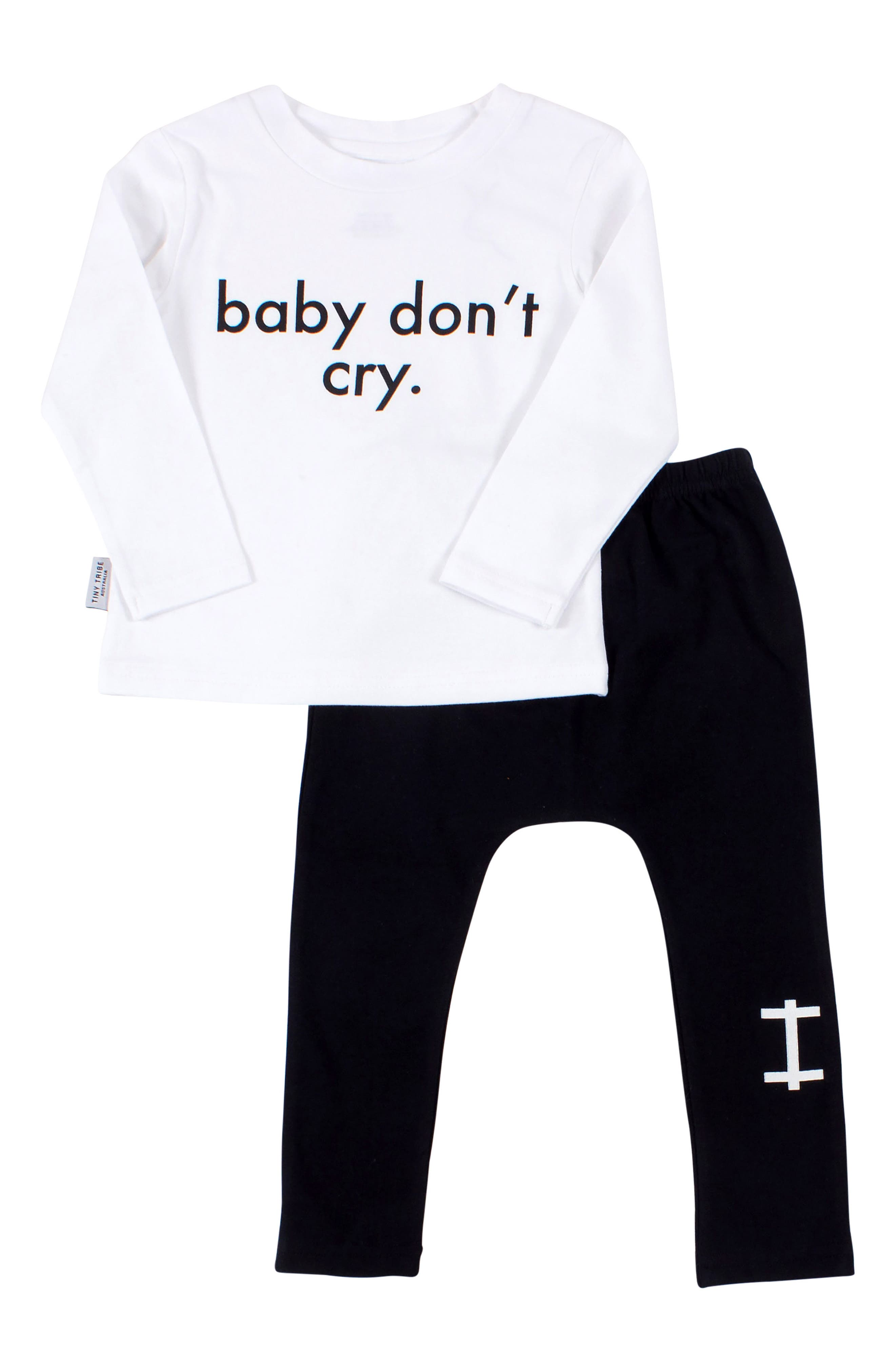 Baby Don't Cry Tee & Leggings Set,                         Main,                         color, WHITE/ BLACK