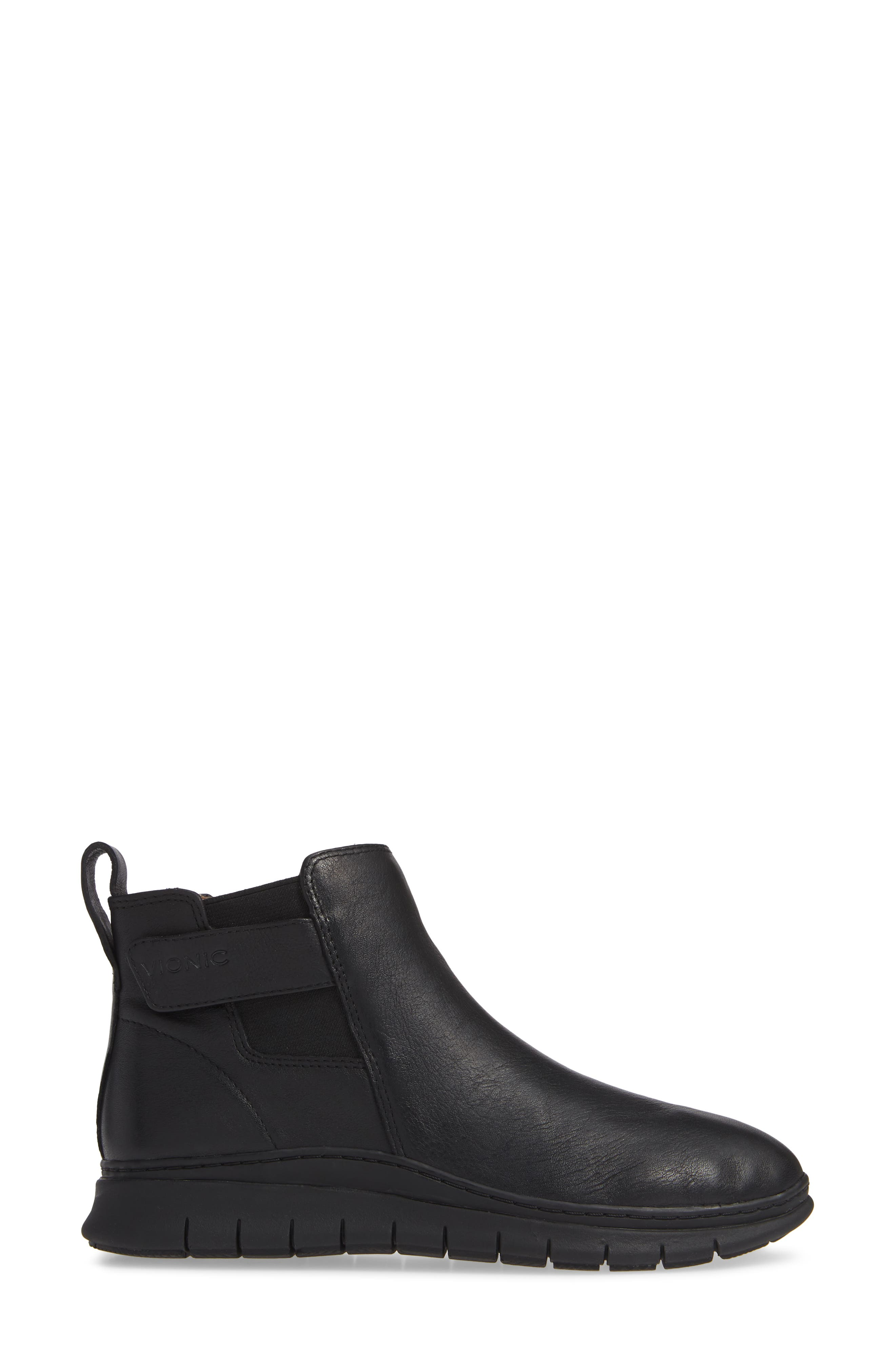 Kaufman Sneaker,                             Alternate thumbnail 3, color,                             BLACK LEATHER