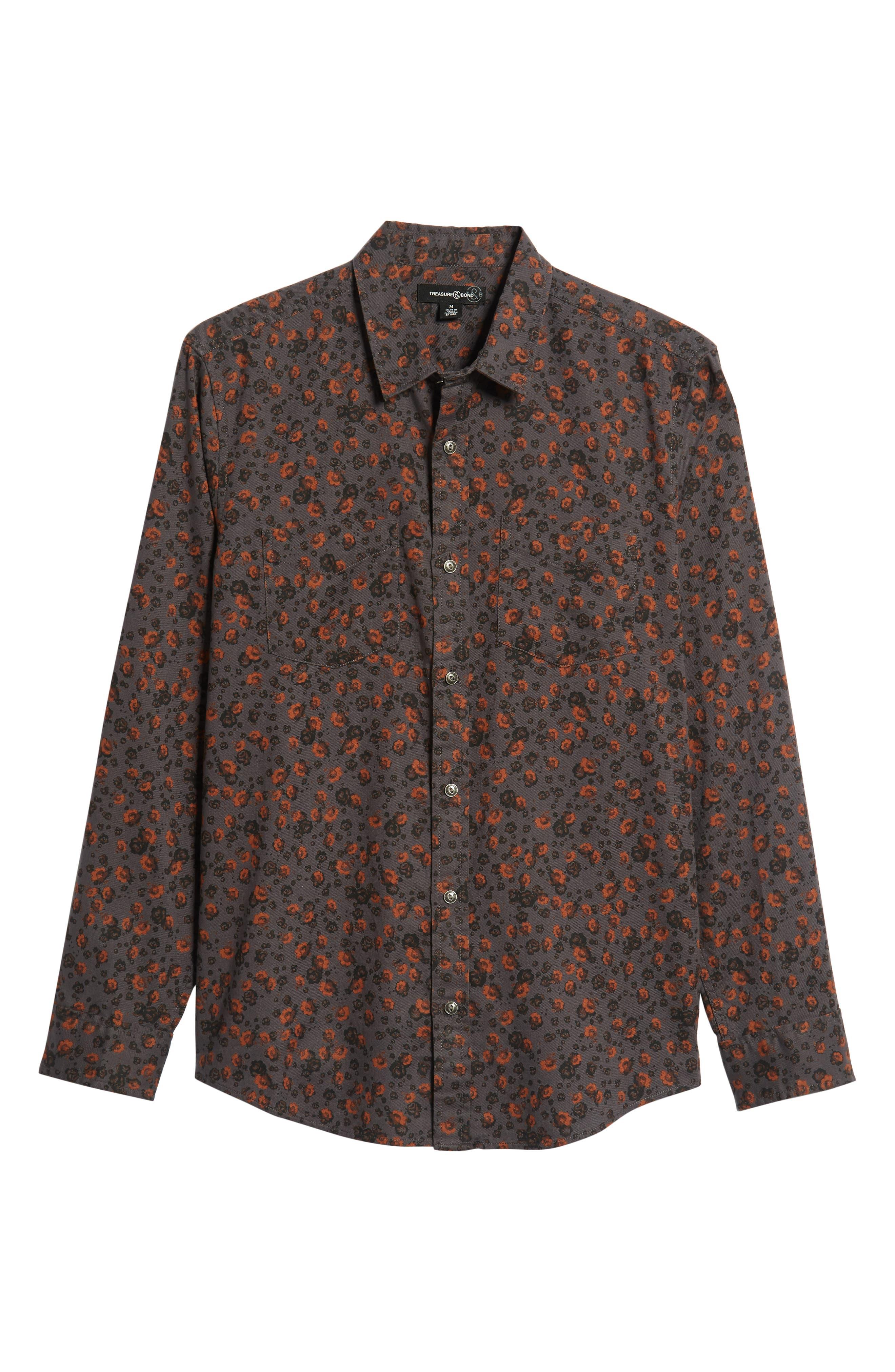Floral Flannel Sport Shirt,                             Alternate thumbnail 5, color,                             GREY METEOR FOLK FLORAL