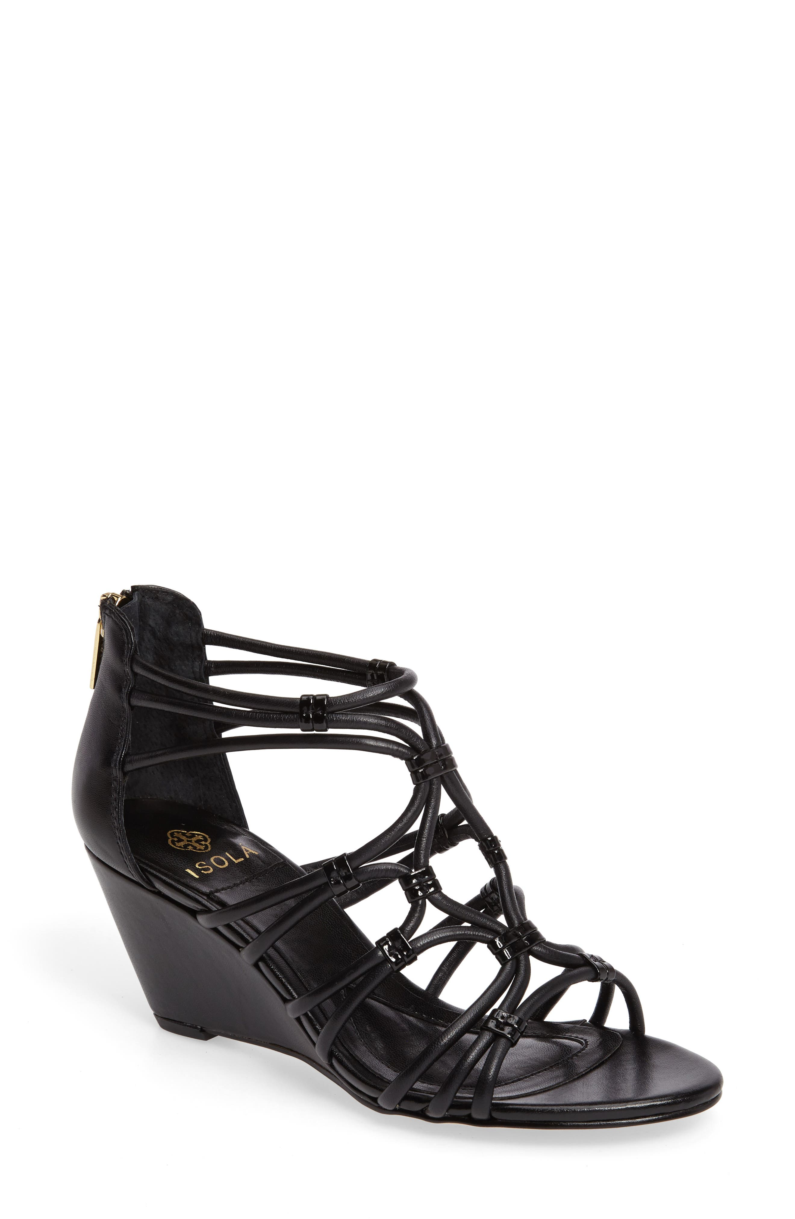 Floral Strappy Wedge Sandal,                             Main thumbnail 1, color,                             001