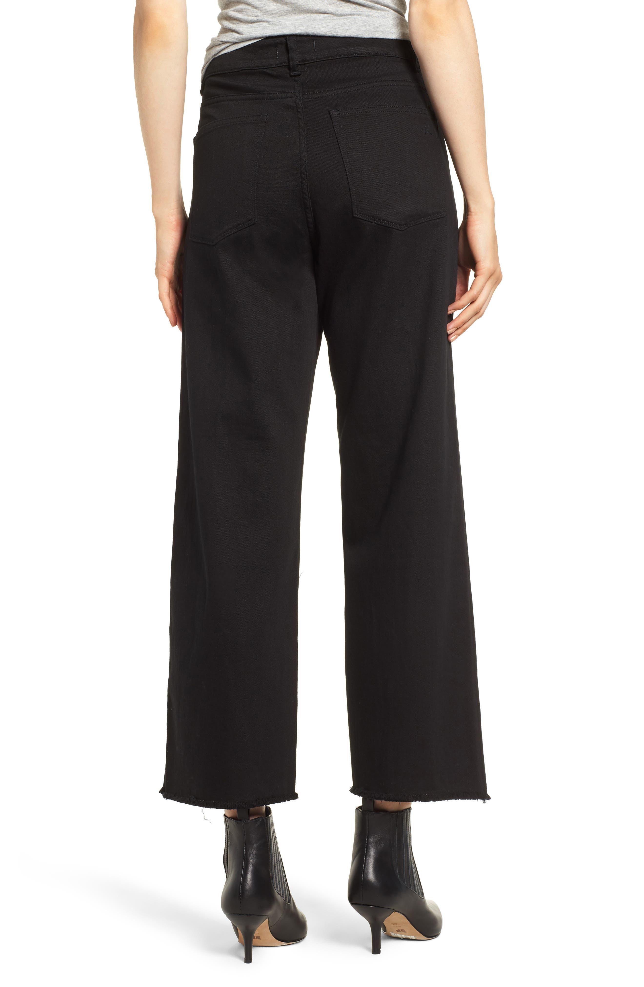 Hepburn High Waist Raw Hem Wide Leg Jeans,                             Alternate thumbnail 2, color,                             001