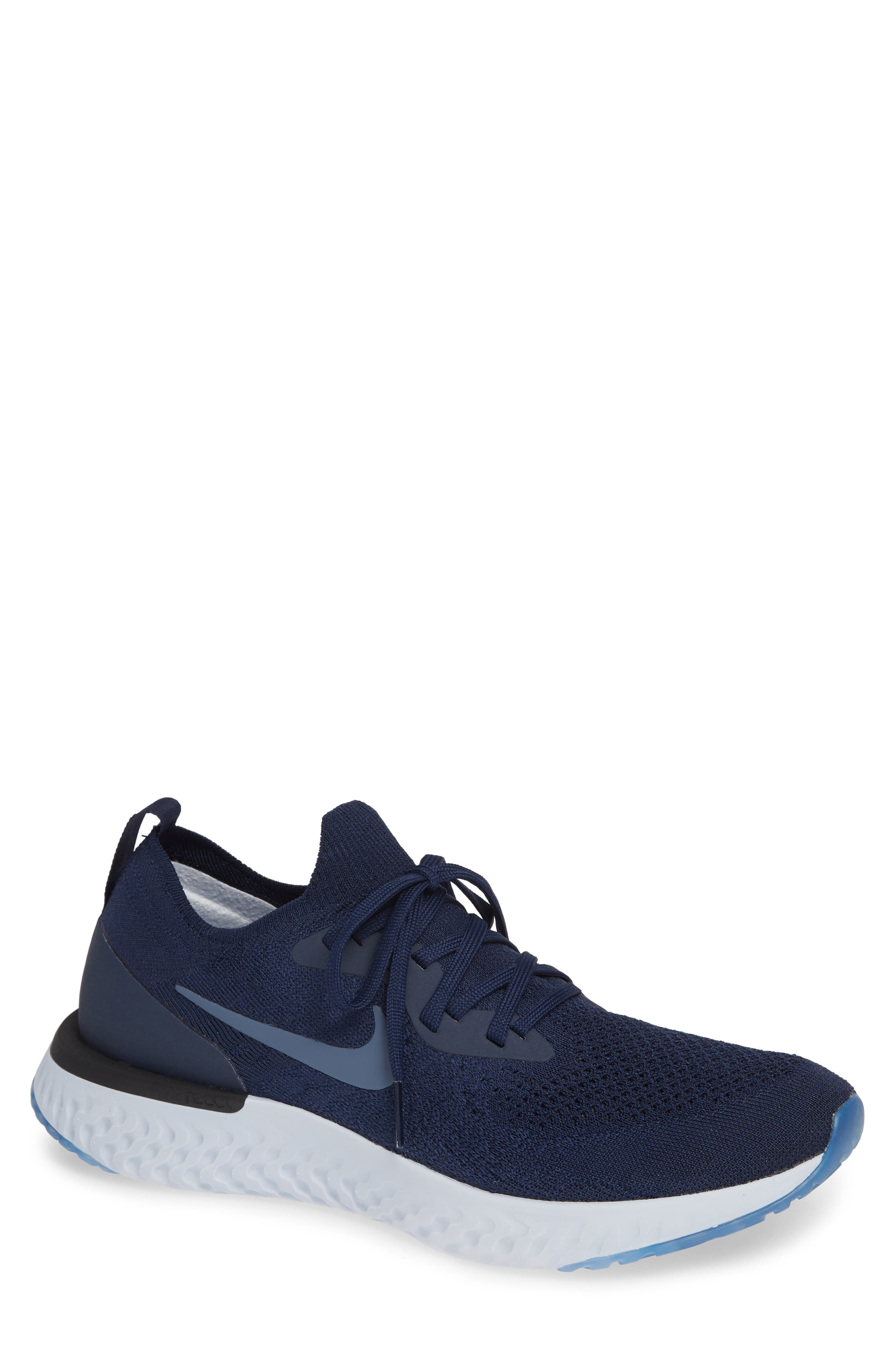 Epic React Flyknit Running Shoe,                             Main thumbnail 1, color,                             COLLEGE NAVY/ BLUE/ GREY