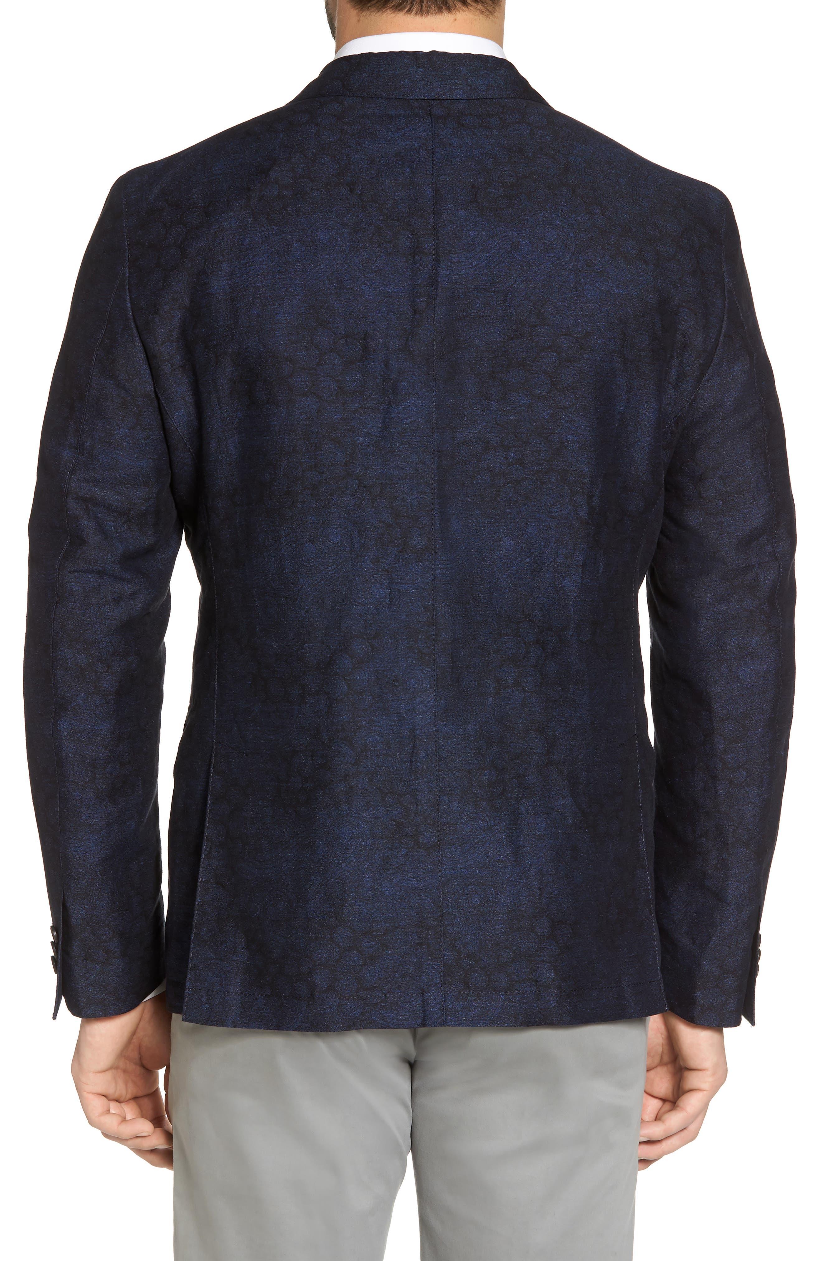 Slim Fit Patterned Linen Blend Sport Coat,                             Alternate thumbnail 2, color,